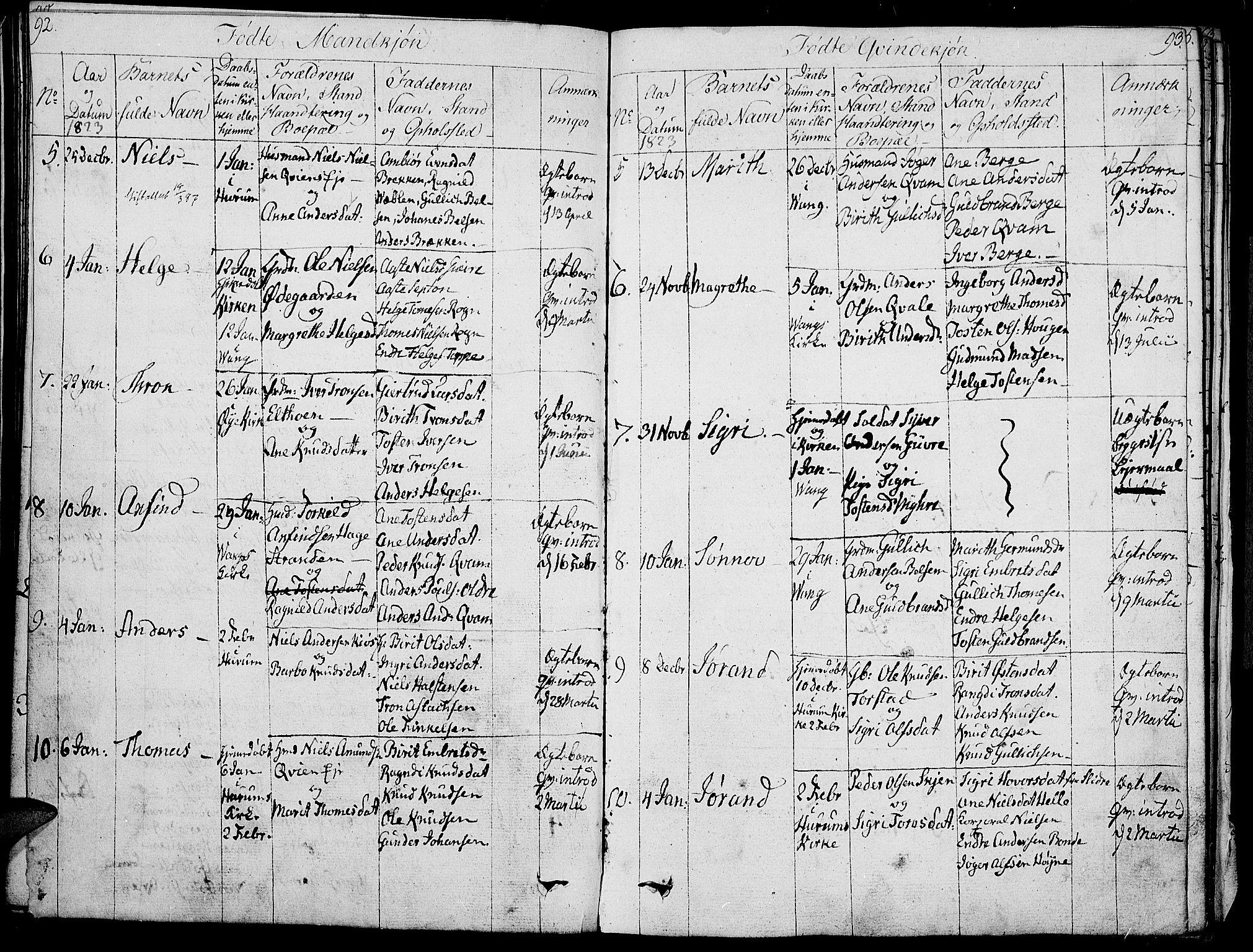 SAH, Vang prestekontor, Valdres, Ministerialbok nr. 3, 1809-1831, s. 92-93