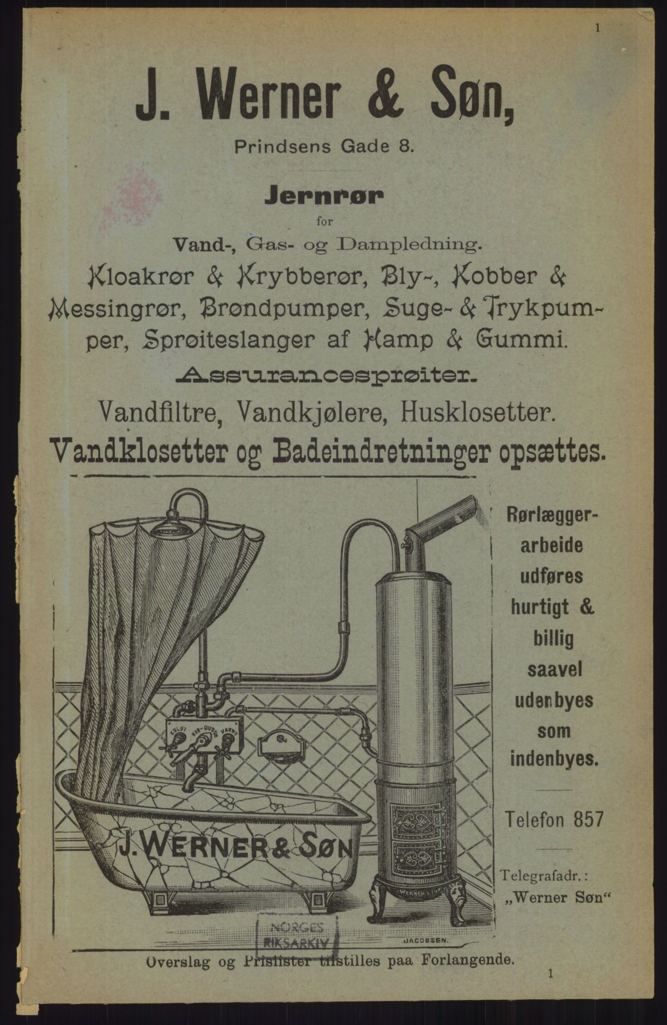 RA, Kristiania adressebok (publikasjon)*, 1905, s. 1