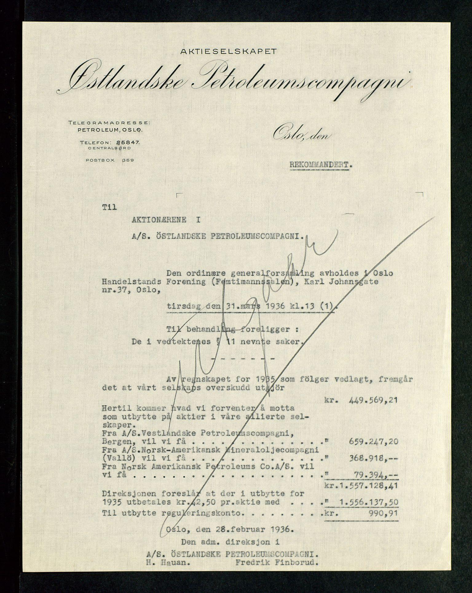 SAST, PA 1534 - Østlandske Petroleumscompagni A/S, A/Aa/L0002: Generalforsamlinger., 1936, s. 2
