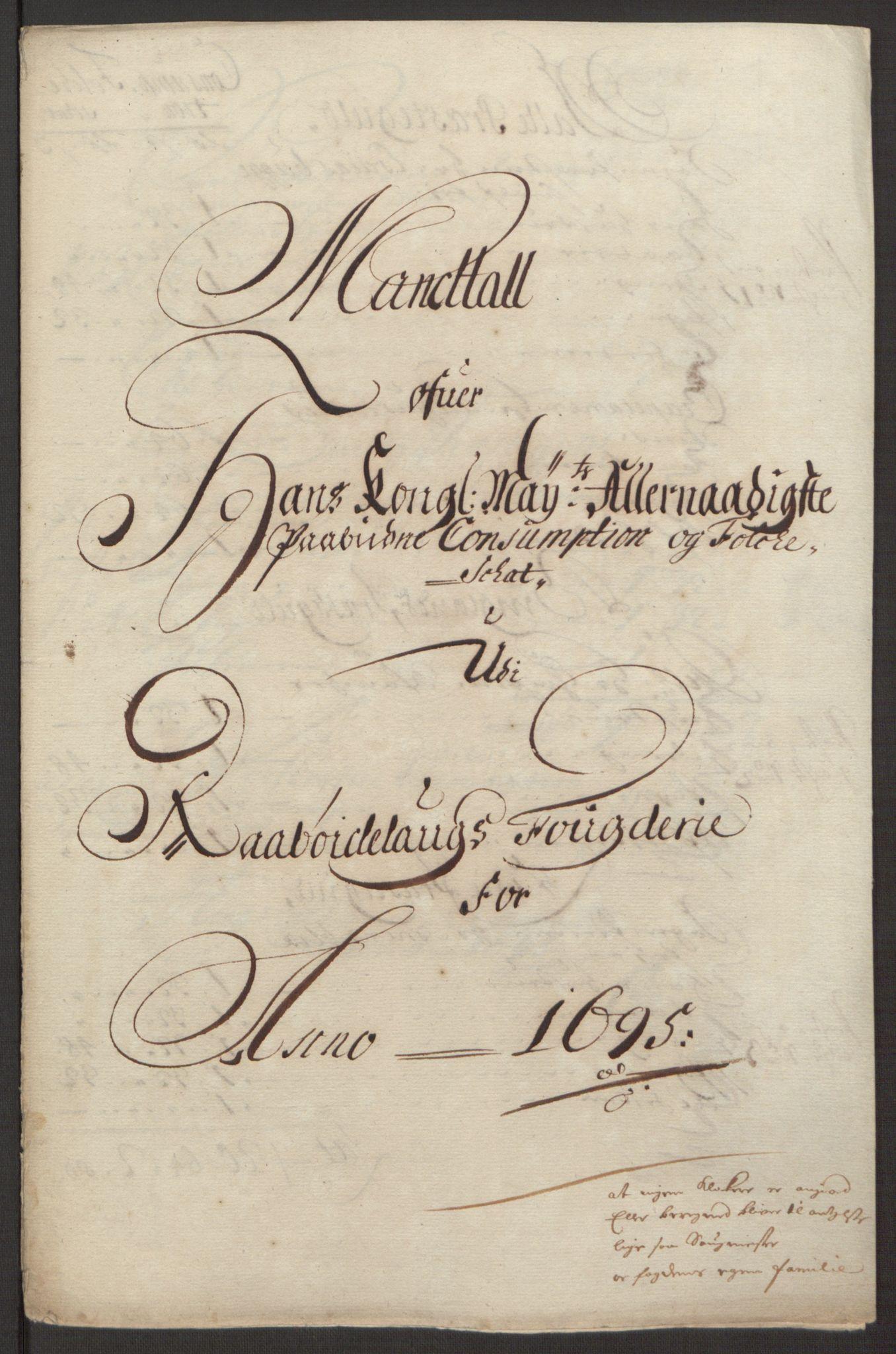 RA, Rentekammeret inntil 1814, Reviderte regnskaper, Fogderegnskap, R40/L2444: Fogderegnskap Råbyggelag, 1693-1696, s. 233