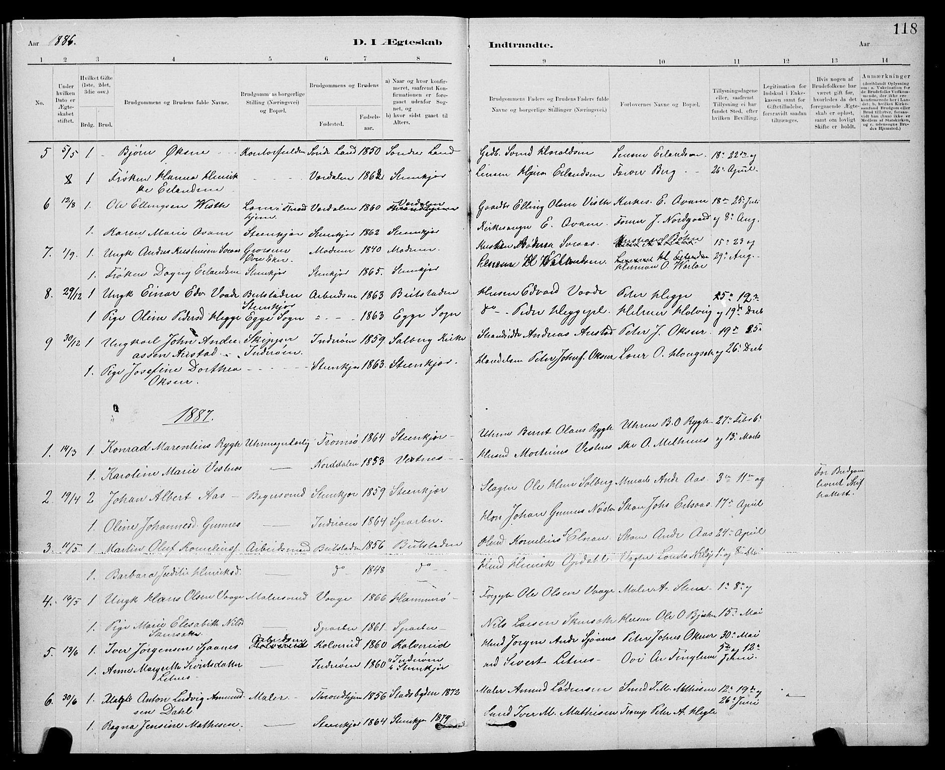 SAT, Ministerialprotokoller, klokkerbøker og fødselsregistre - Nord-Trøndelag, 739/L0374: Klokkerbok nr. 739C02, 1883-1898, s. 118