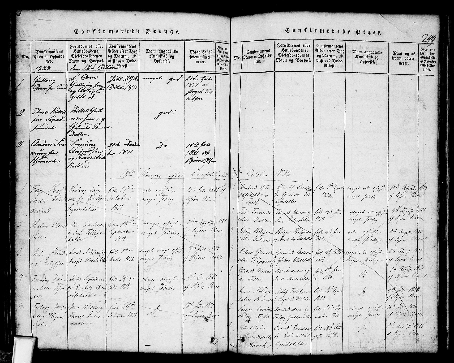 SAKO, Nissedal kirkebøker, G/Gb/L0001: Klokkerbok nr. II 1, 1814-1862, s. 249