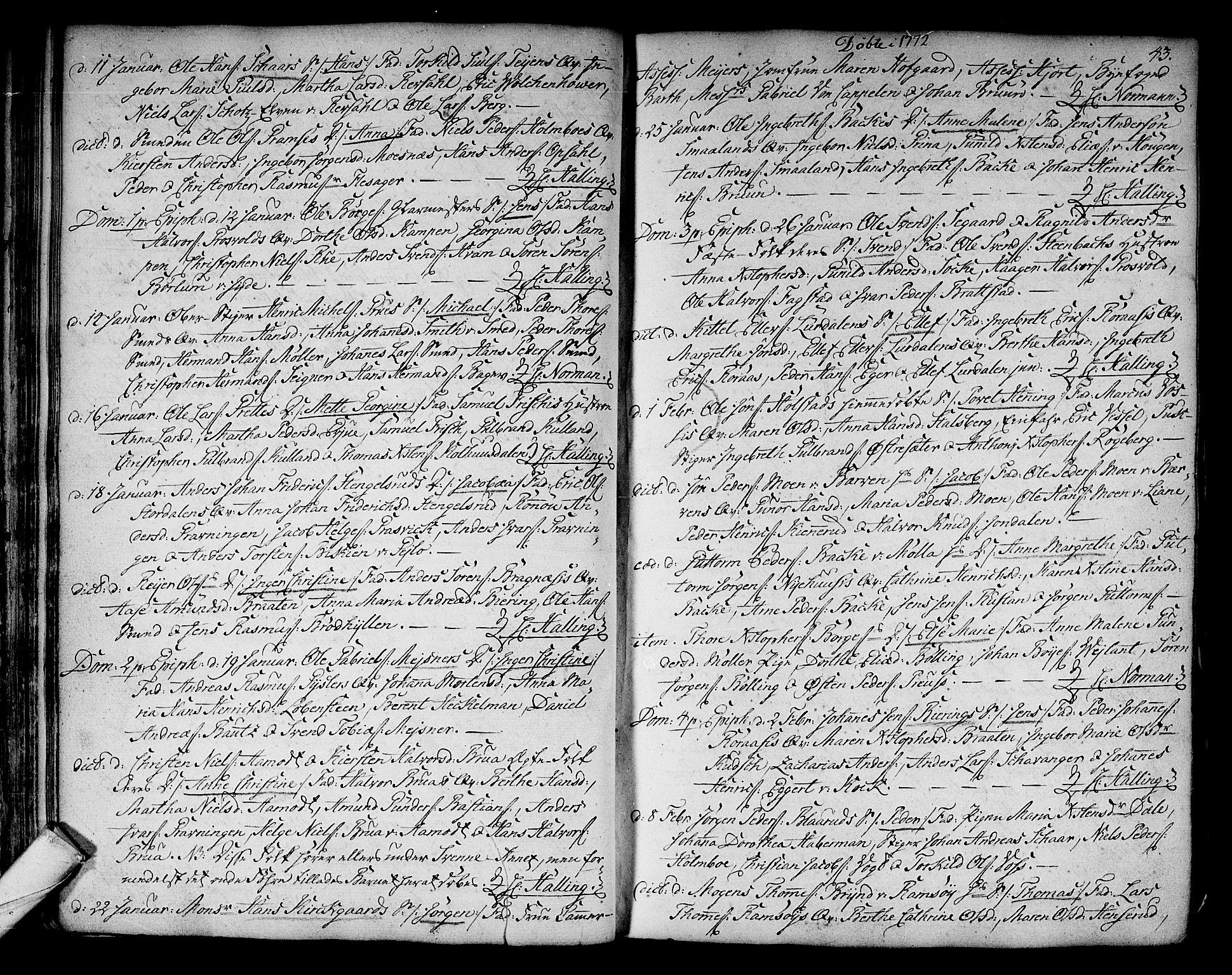 SAKO, Kongsberg kirkebøker, F/Fa/L0005: Ministerialbok nr. I 5, 1769-1782, s. 43