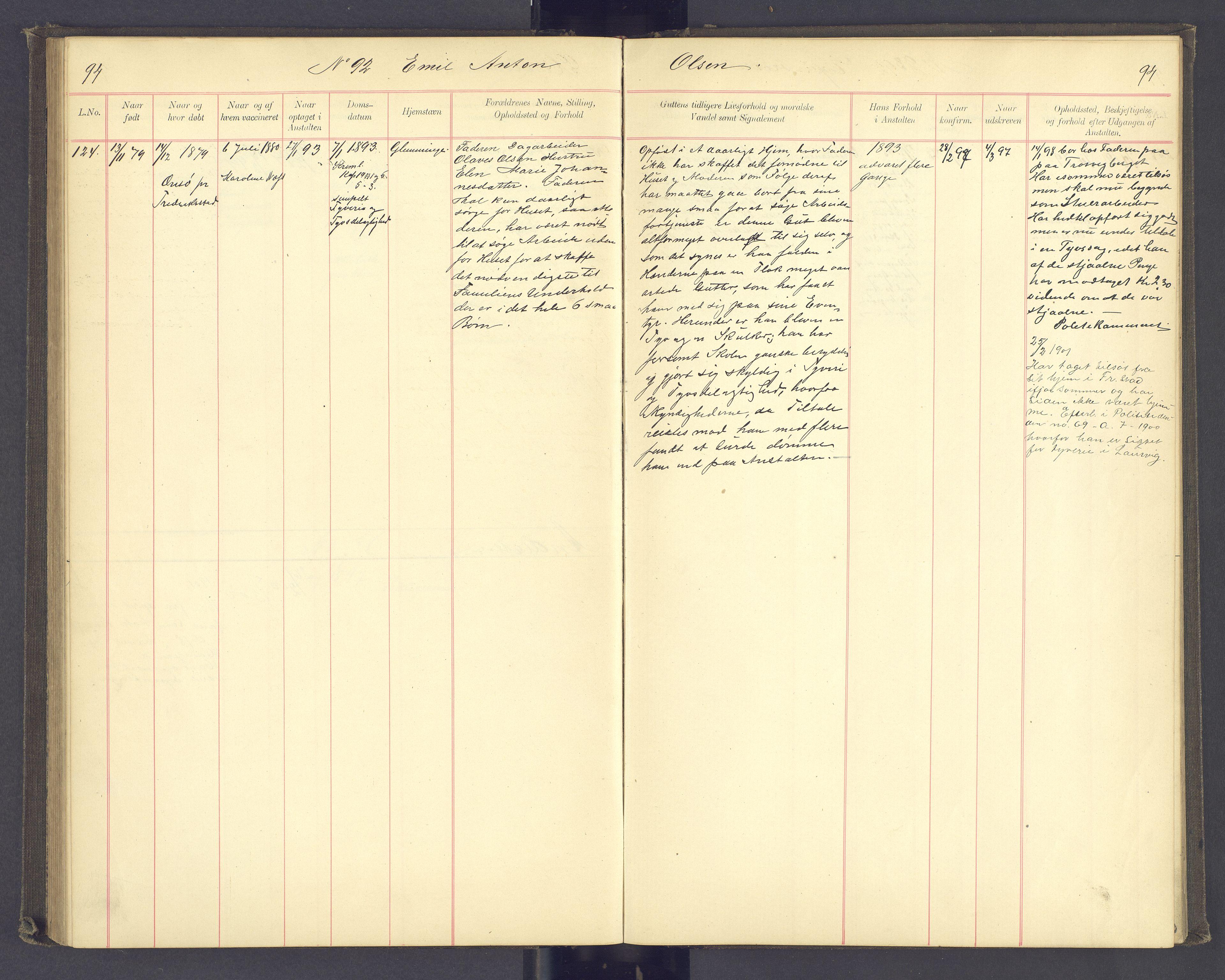 SAH, Toftes Gave, F/Fc/L0003: Elevprotokoll, 1886-1897, s. 94
