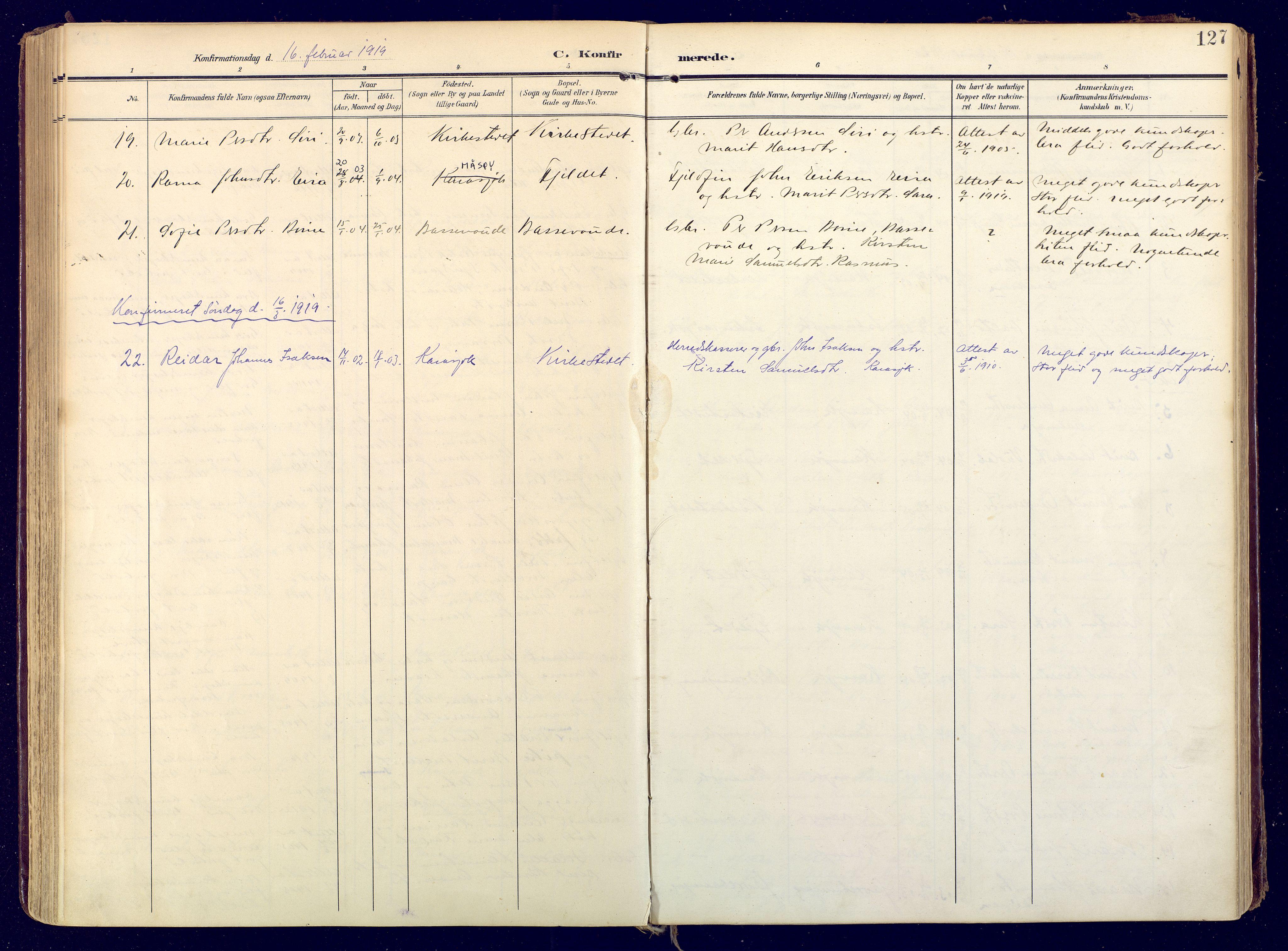 SATØ, Karasjok sokneprestkontor, H/Ha: Ministerialbok nr. 3, 1907-1926, s. 127
