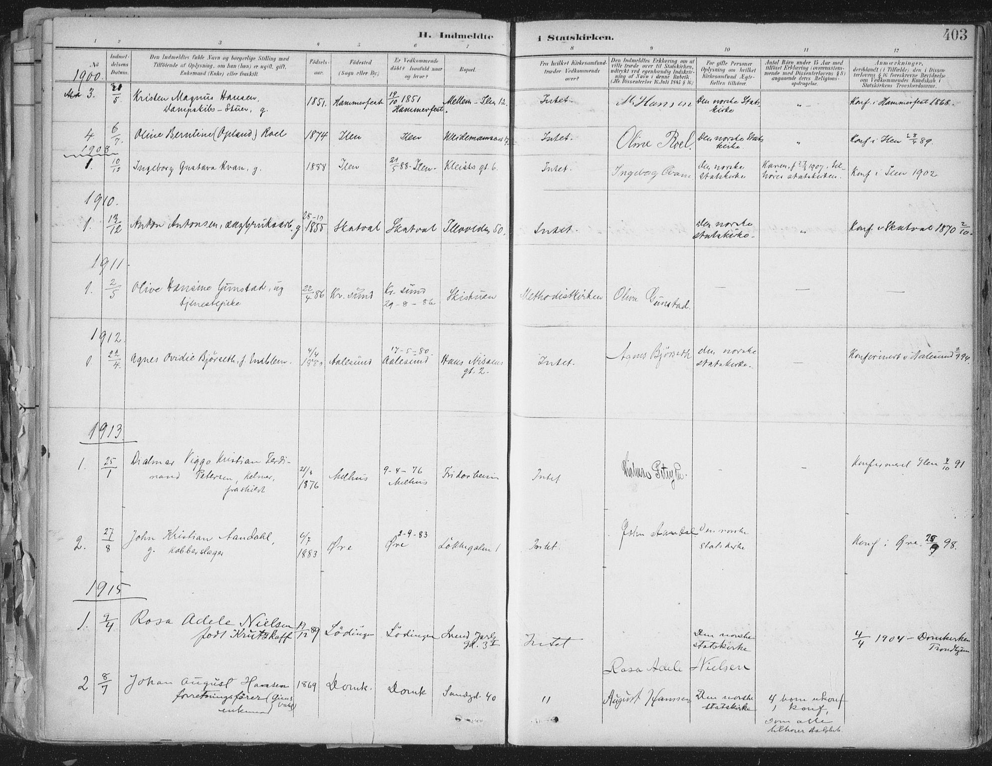 SAT, Ministerialprotokoller, klokkerbøker og fødselsregistre - Sør-Trøndelag, 603/L0167: Ministerialbok nr. 603A06, 1896-1932, s. 403
