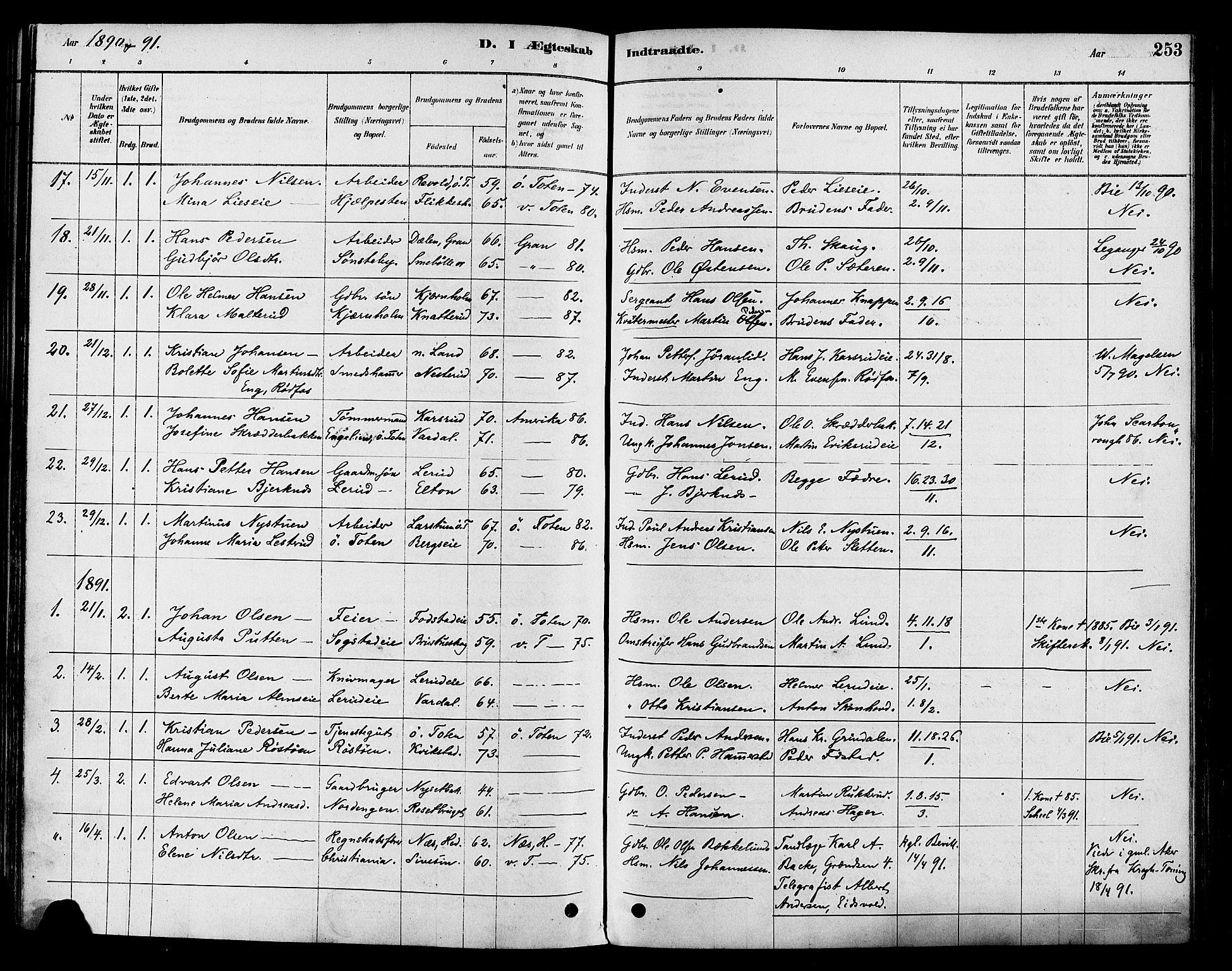SAH, Vestre Toten prestekontor, H/Ha/Haa/L0009: Ministerialbok nr. 9, 1878-1894, s. 253