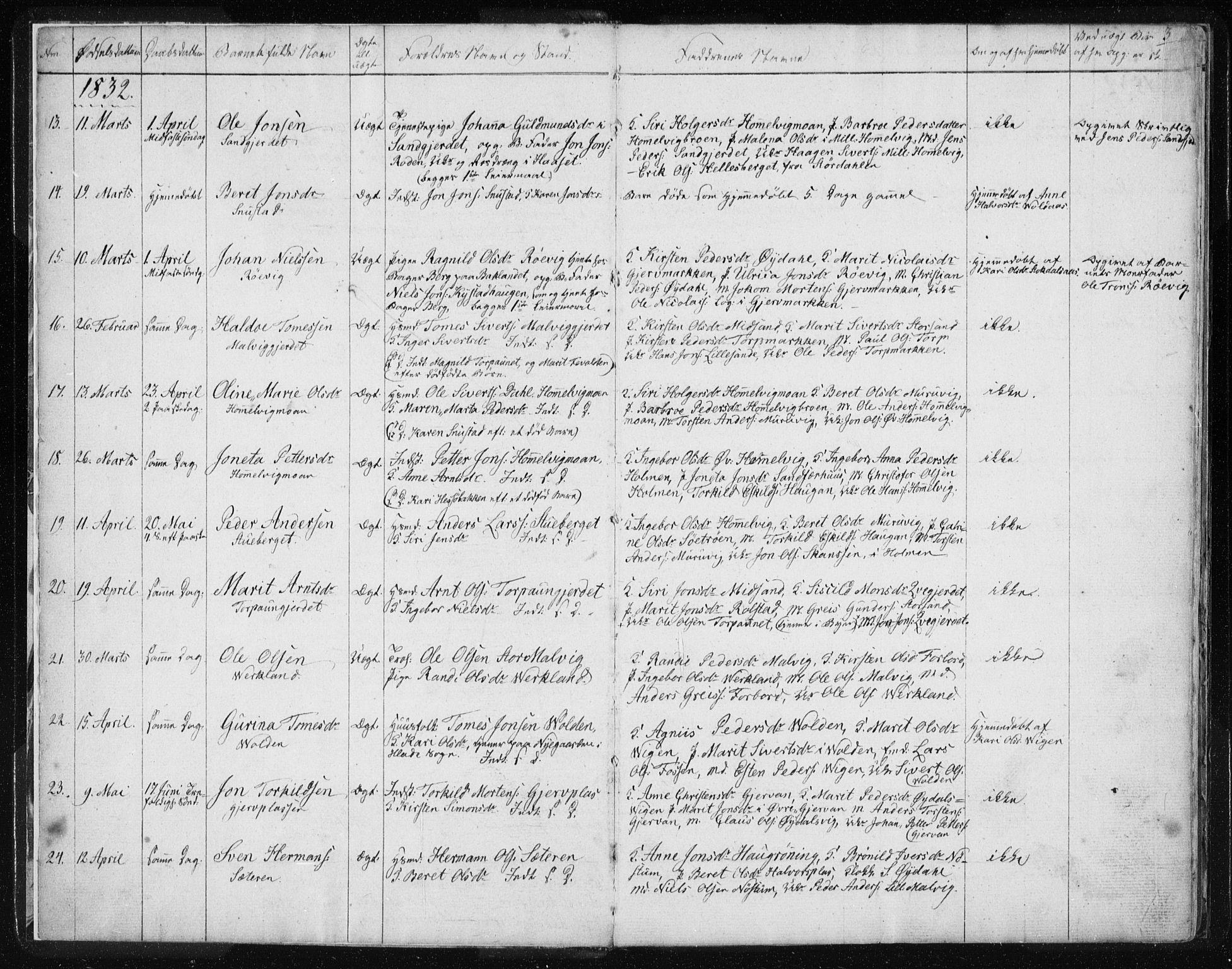 SAT, Ministerialprotokoller, klokkerbøker og fødselsregistre - Sør-Trøndelag, 616/L0405: Ministerialbok nr. 616A02, 1831-1842, s. 3
