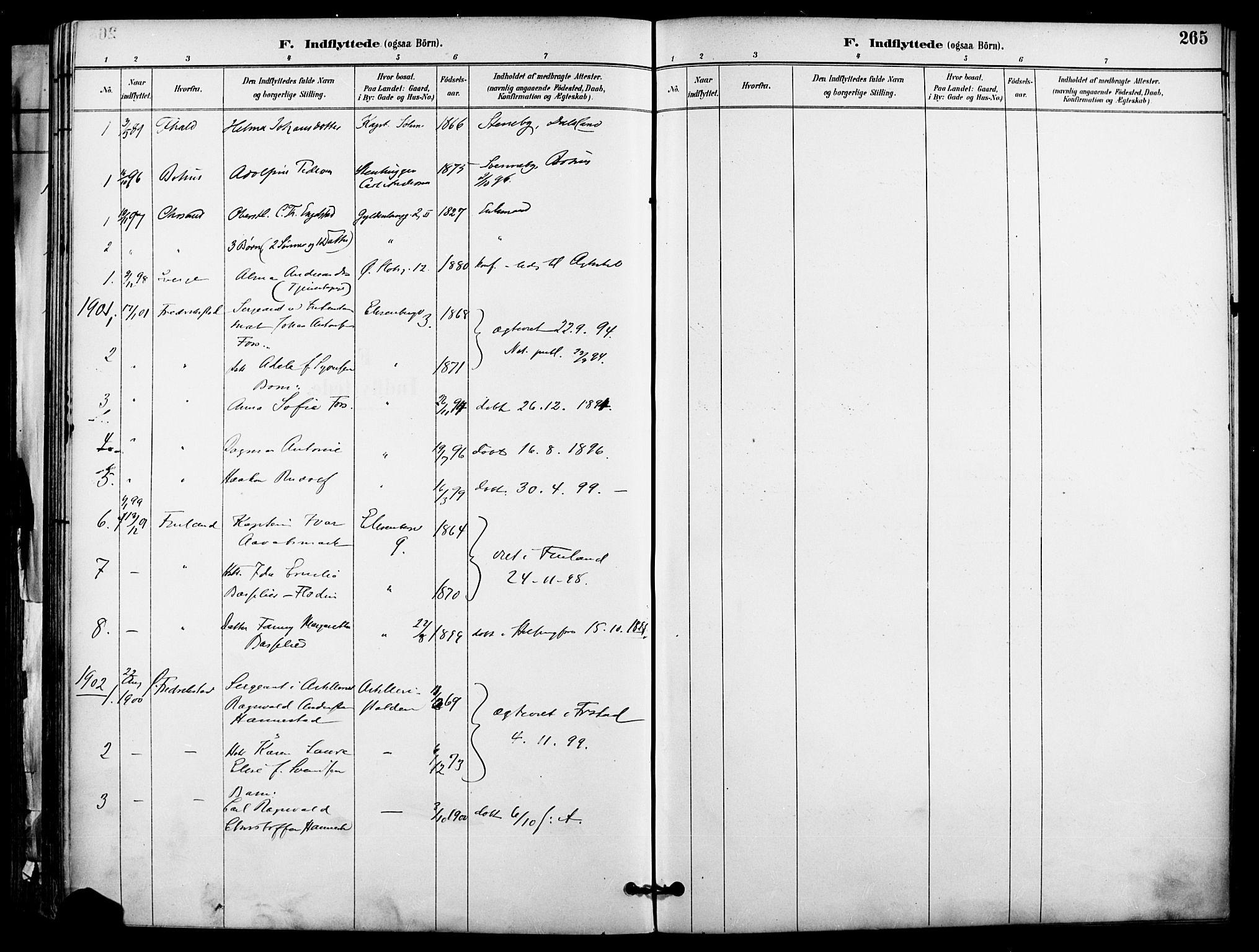 SAO, Garnisonsmenigheten Kirkebøker, F/Fa/L0013: Ministerialbok nr. 13, 1894-1904, s. 265