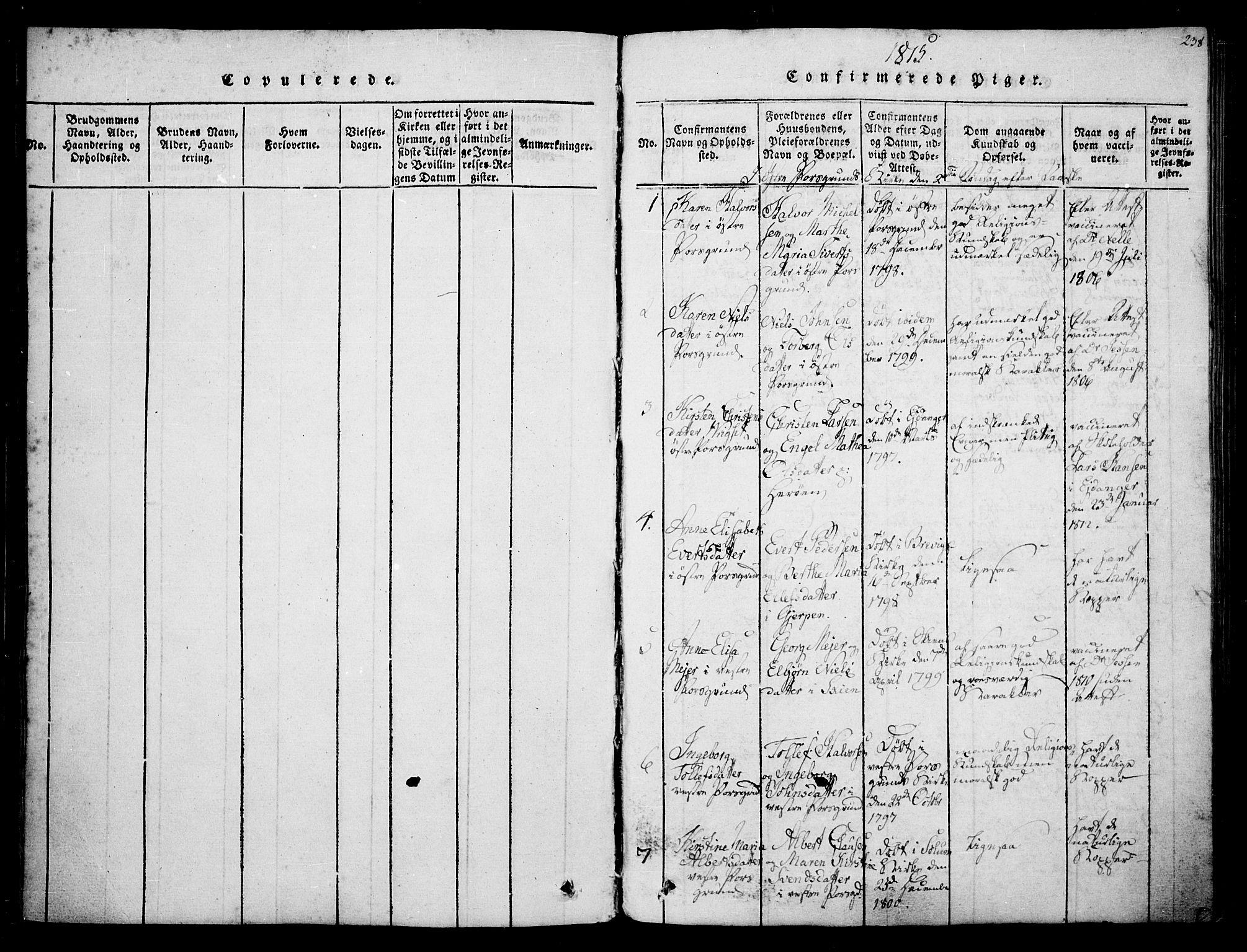 SAKO, Porsgrunn kirkebøker , F/Fa/L0004: Ministerialbok nr. 4, 1814-1828, s. 238