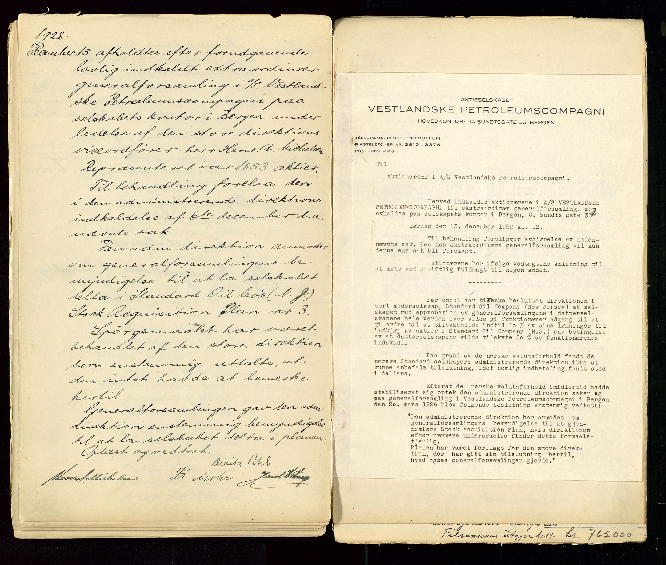 SAST, PA 1533 - A/S Vestlandske Petroleumscompani, A/Aa/L0001: Generalforsamlinger og styreprotokoller, 1890-1953, s. 89