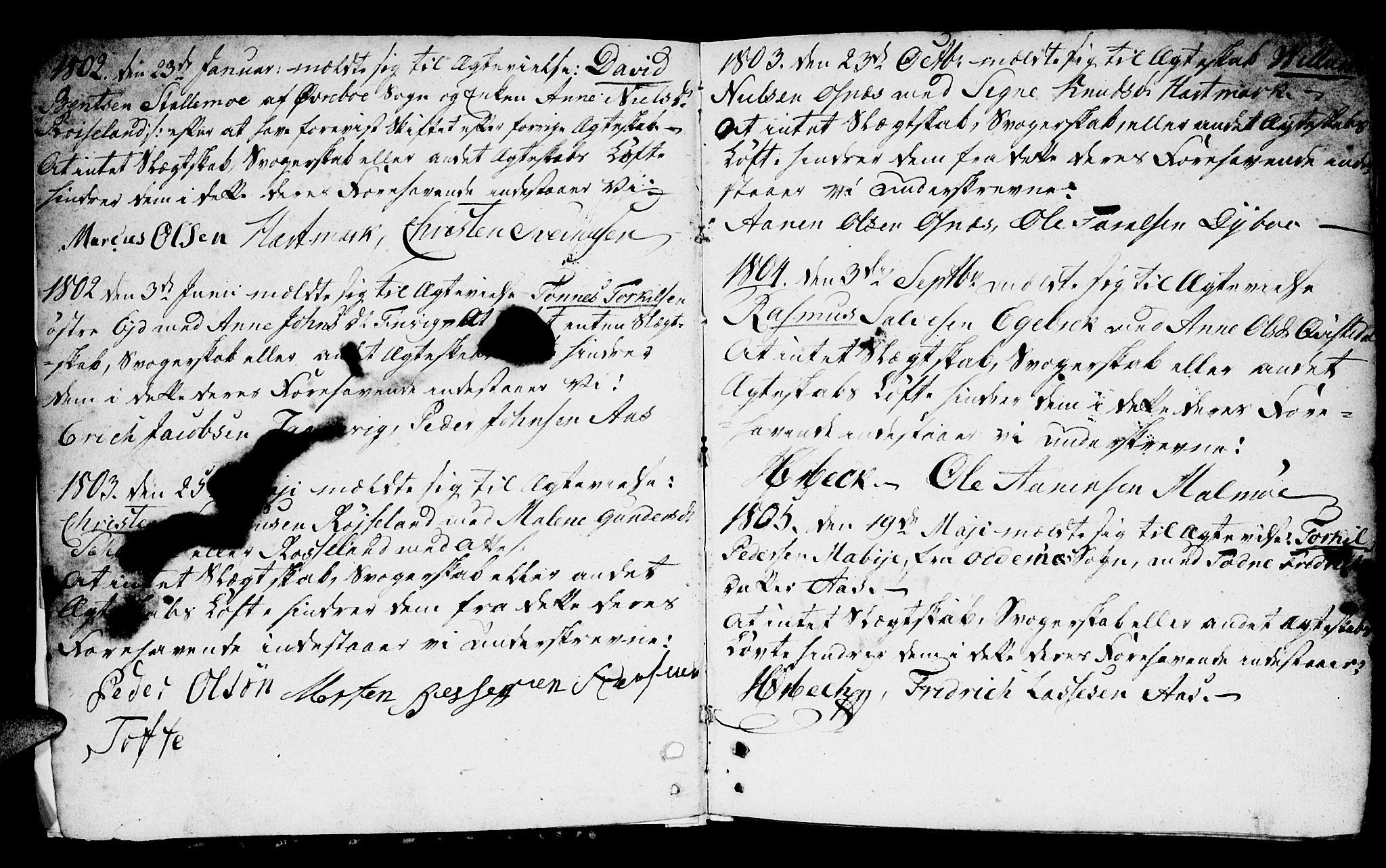 SAK, Mandal sokneprestkontor, F/Fb/Fbb/L0002: Klokkerbok nr. B 2, 1802-1846, s. 1-2