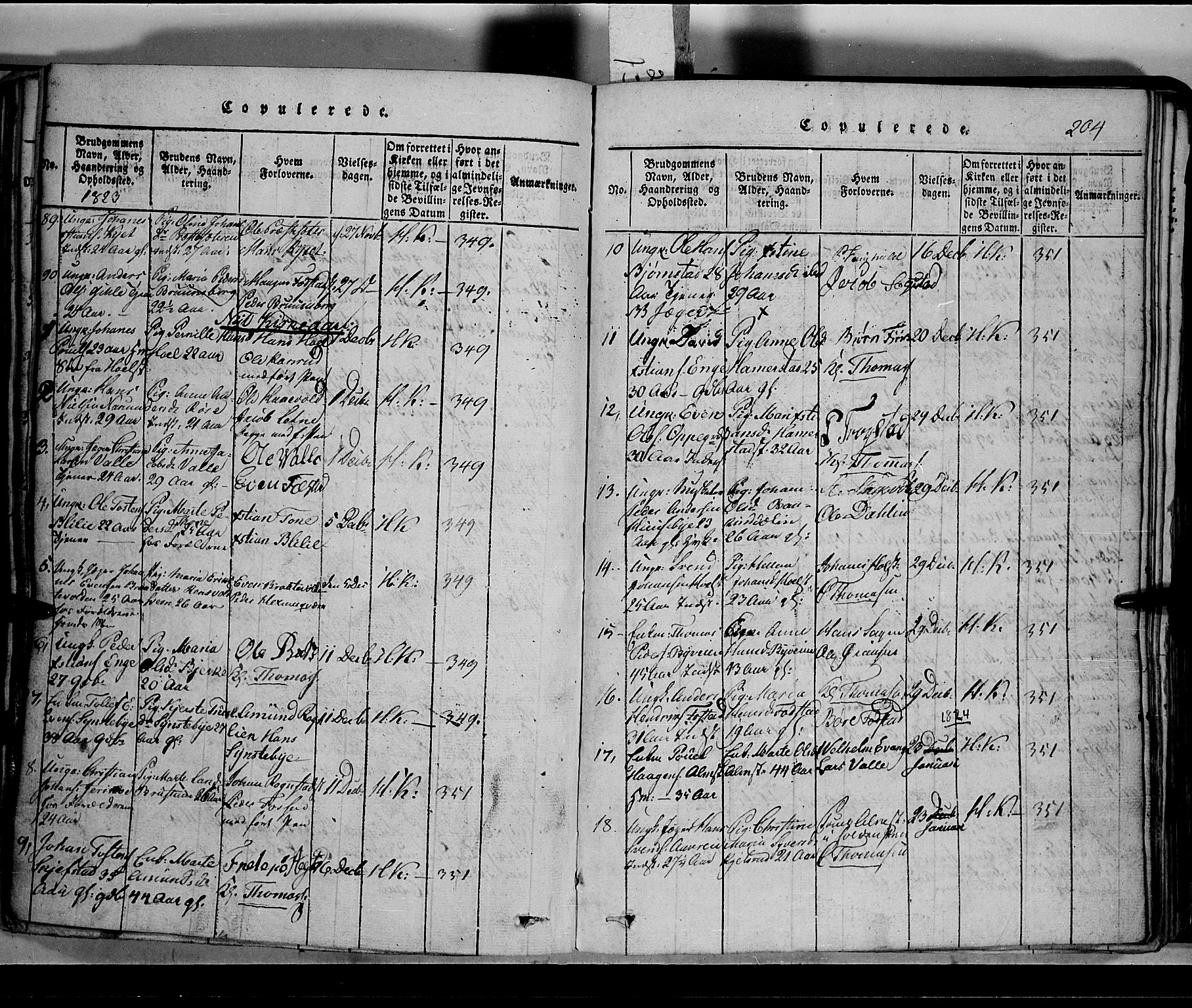 SAH, Toten prestekontor, Klokkerbok nr. 2, 1820-1827, s. 204