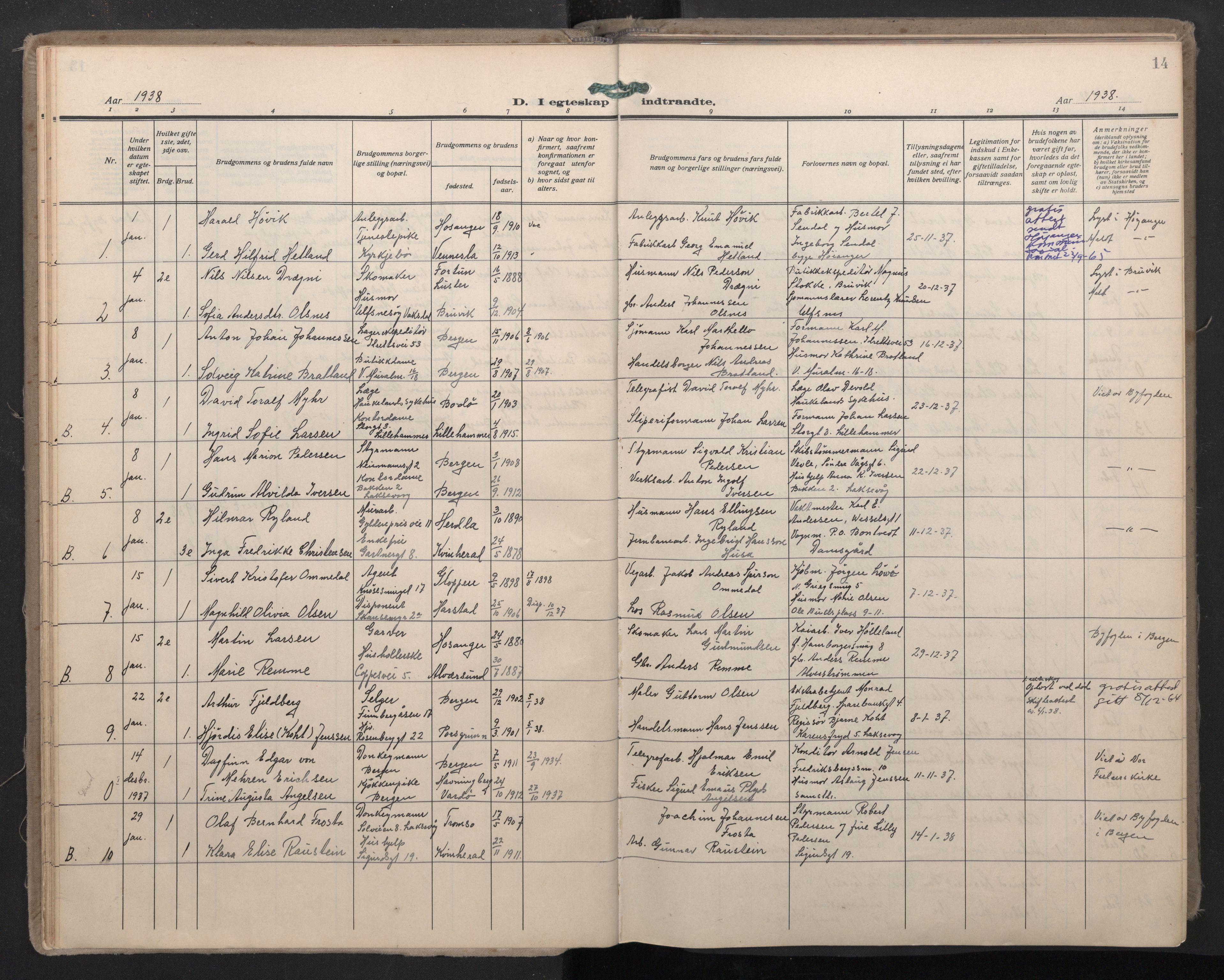 SAB, Domkirken Sokneprestembete, H/Haa: Ministerialbok nr. D 7, 1937-1950, s. 13b-14a