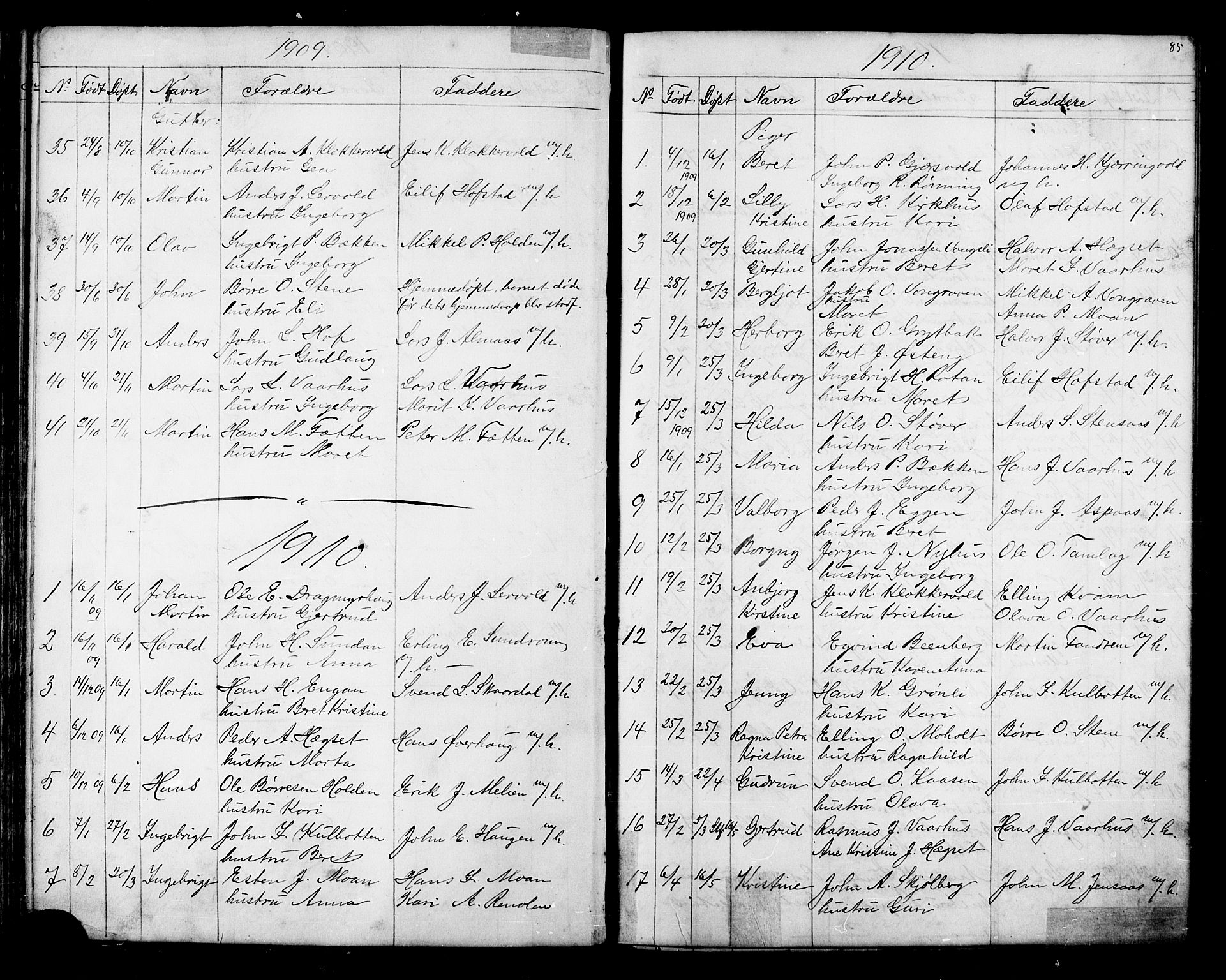 SAT, Ministerialprotokoller, klokkerbøker og fødselsregistre - Sør-Trøndelag, 686/L0985: Klokkerbok nr. 686C01, 1871-1933, s. 85