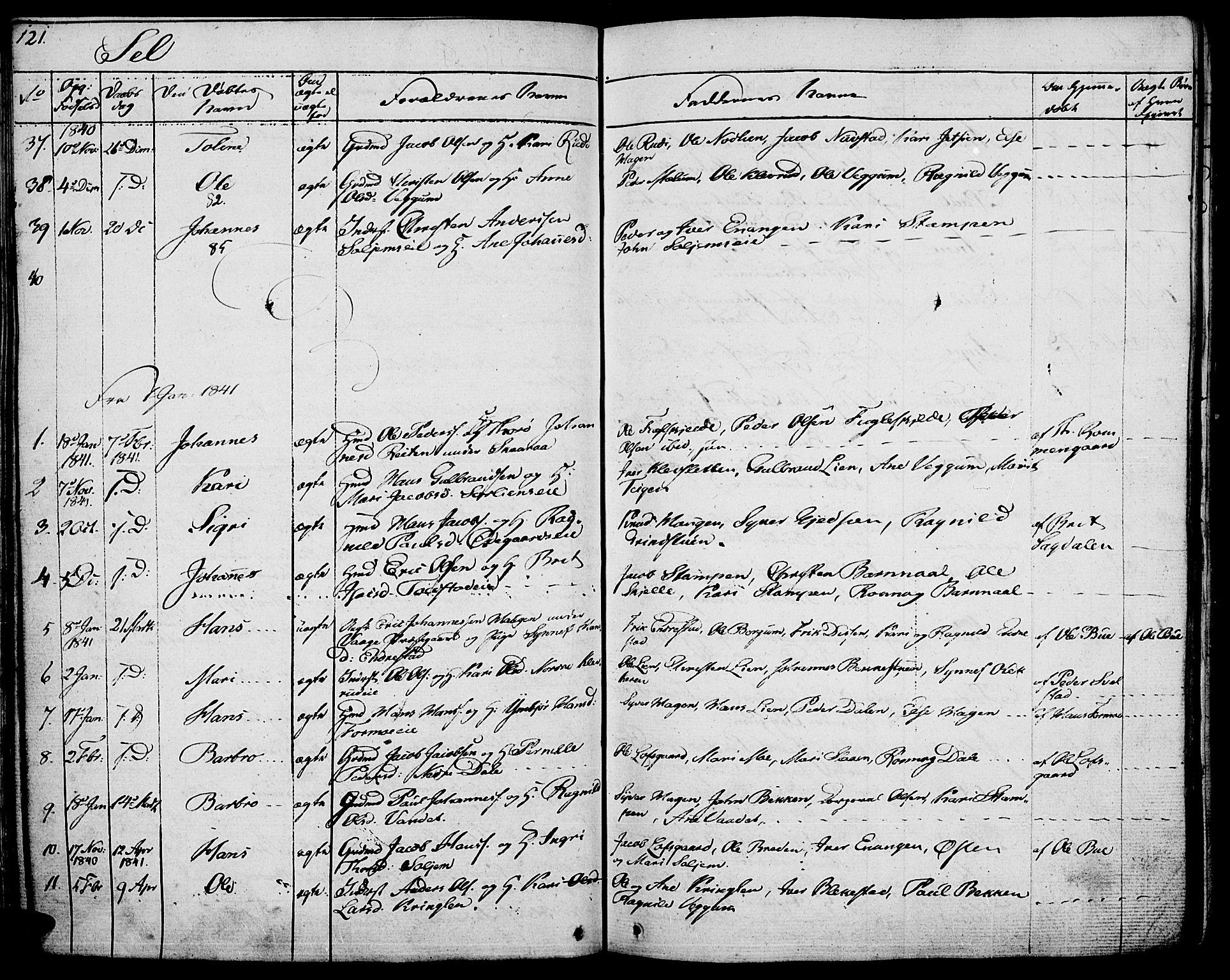 SAH, Vågå prestekontor, Ministerialbok nr. 4 /3, 1834-1842, s. 121