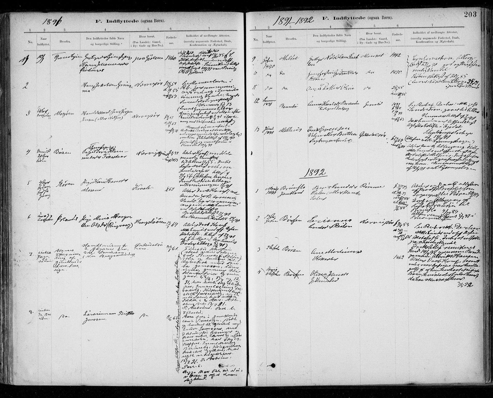 SAT, Ministerialprotokoller, klokkerbøker og fødselsregistre - Sør-Trøndelag, 668/L0810: Ministerialbok nr. 668A10, 1881-1894, s. 203