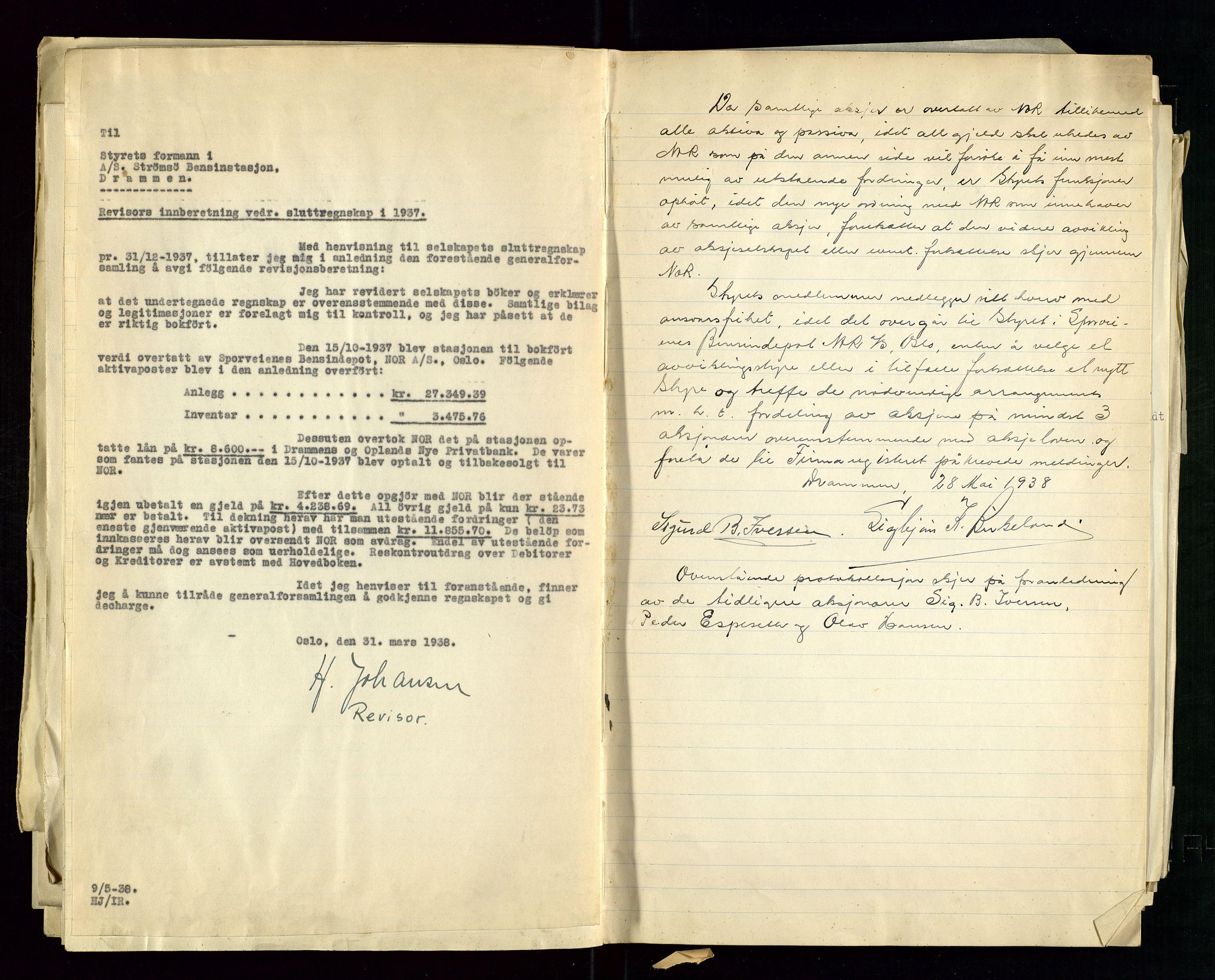 SAST, PA 1517 - A/S Strømsø Bensinstasjon, A/L0001: Referatprotokoll, 1933-1938, s. 29