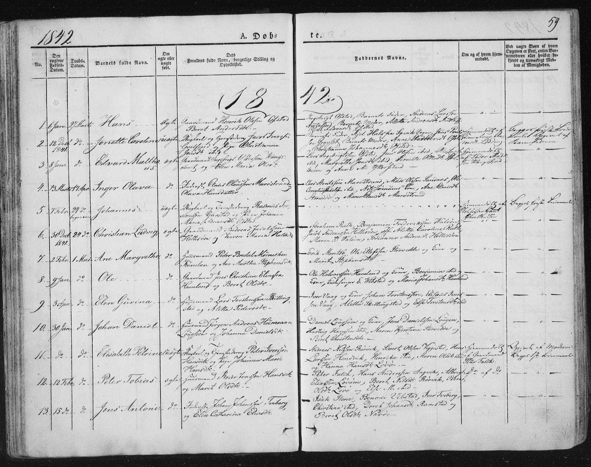 SAT, Ministerialprotokoller, klokkerbøker og fødselsregistre - Nord-Trøndelag, 784/L0669: Ministerialbok nr. 784A04, 1829-1859, s. 59