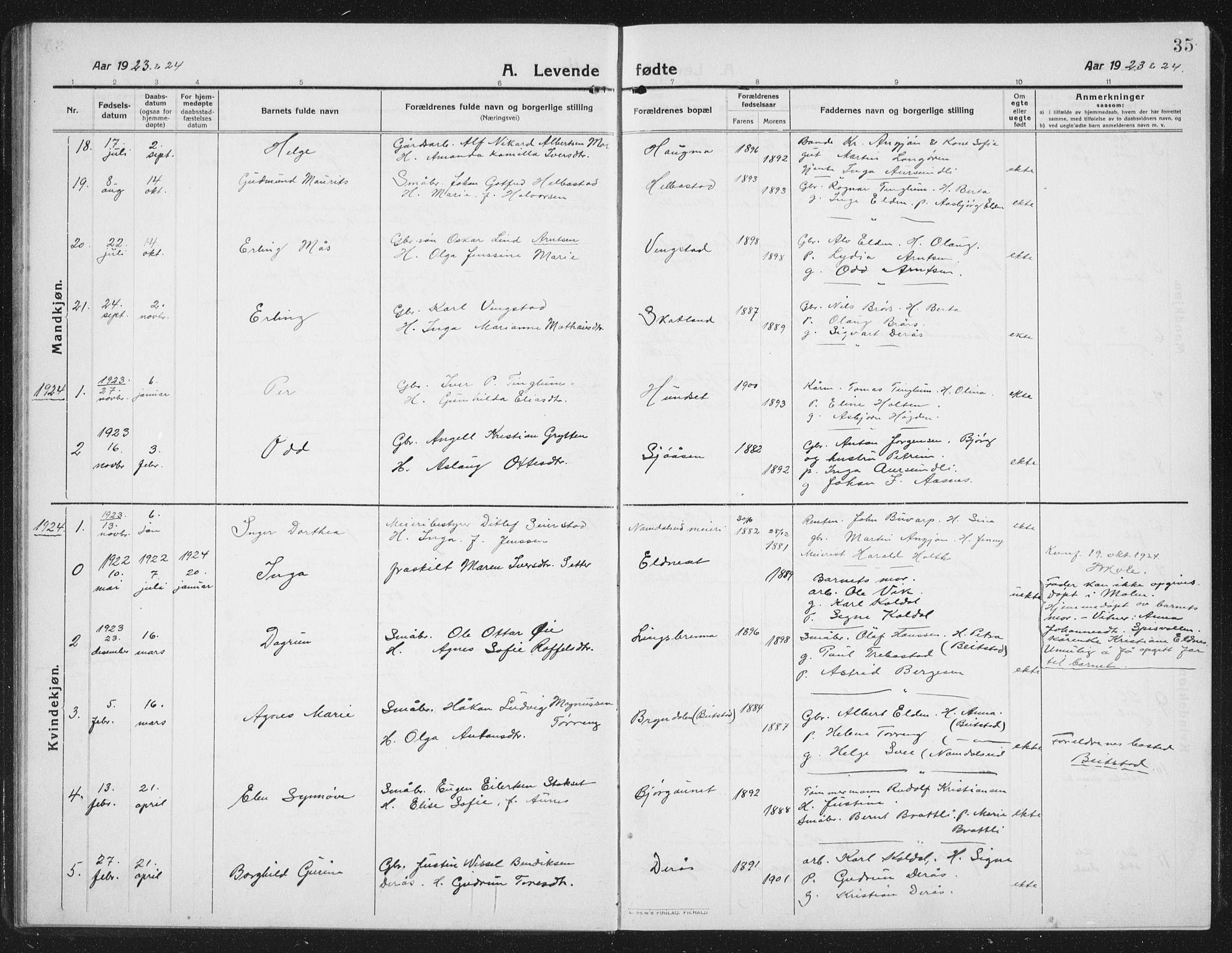SAT, Ministerialprotokoller, klokkerbøker og fødselsregistre - Nord-Trøndelag, 742/L0413: Klokkerbok nr. 742C04, 1911-1938, s. 35