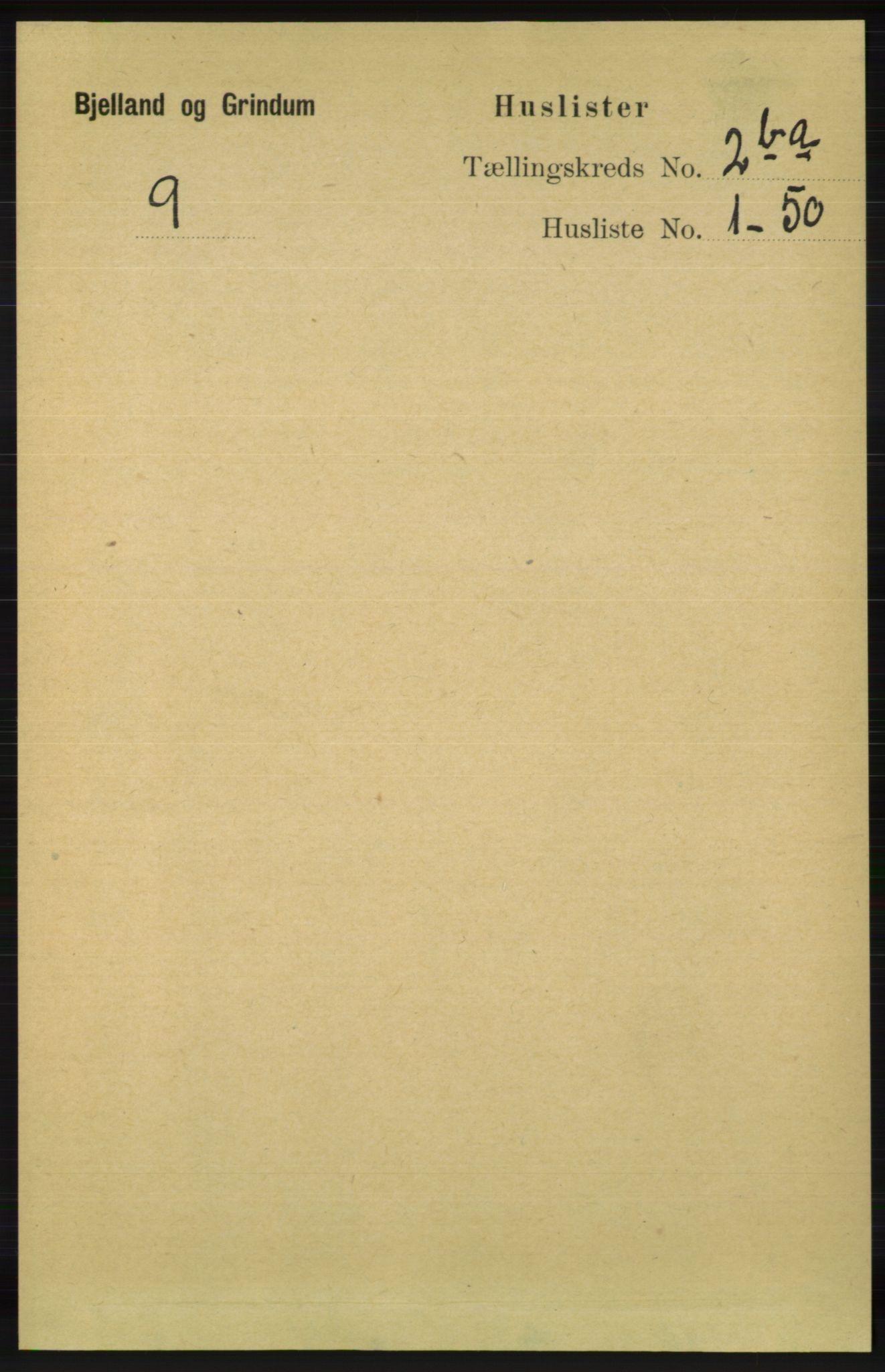 RA, Folketelling 1891 for 1024 Bjelland og Grindheim herred, 1891, s. 1076
