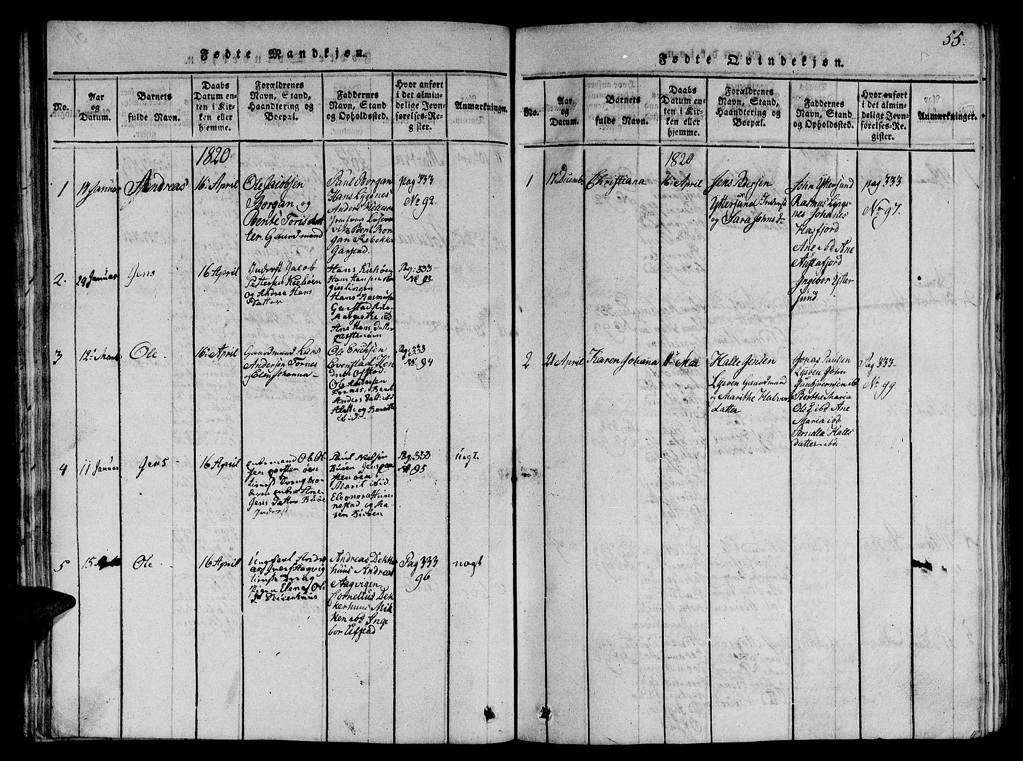 SAT, Ministerialprotokoller, klokkerbøker og fødselsregistre - Nord-Trøndelag, 784/L0679: Klokkerbok nr. 784C01 /2, 1818-1822, s. 55