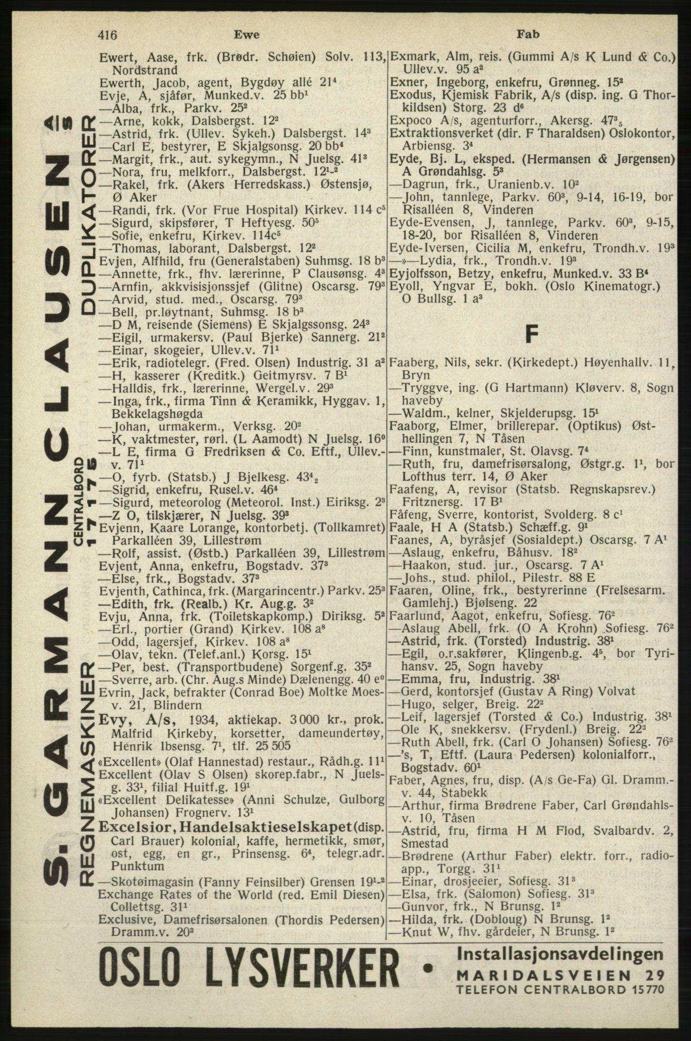 RA, Oslo adressebok (publikasjon)*, 1940, s. 416