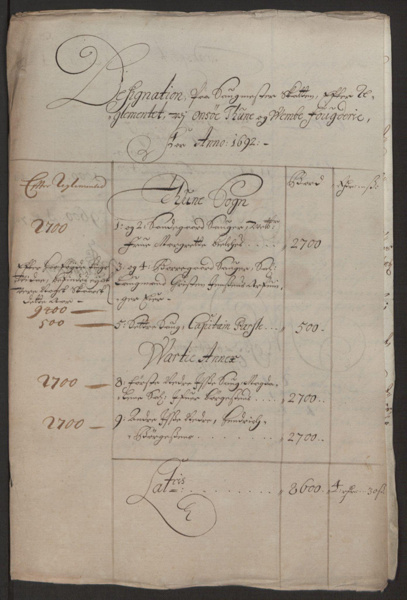 RA, Rentekammeret inntil 1814, Reviderte regnskaper, Fogderegnskap, R03/L0120: Fogderegnskap Onsøy, Tune, Veme og Åbygge fogderi, 1692-1693, s. 133