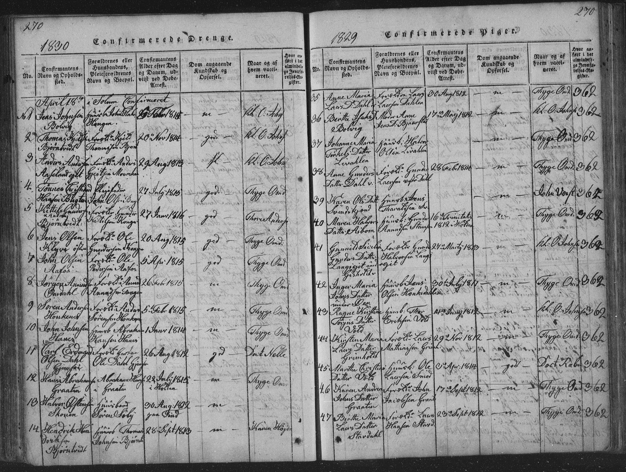 SAKO, Solum kirkebøker, F/Fa/L0004: Ministerialbok nr. I 4, 1814-1833, s. 270