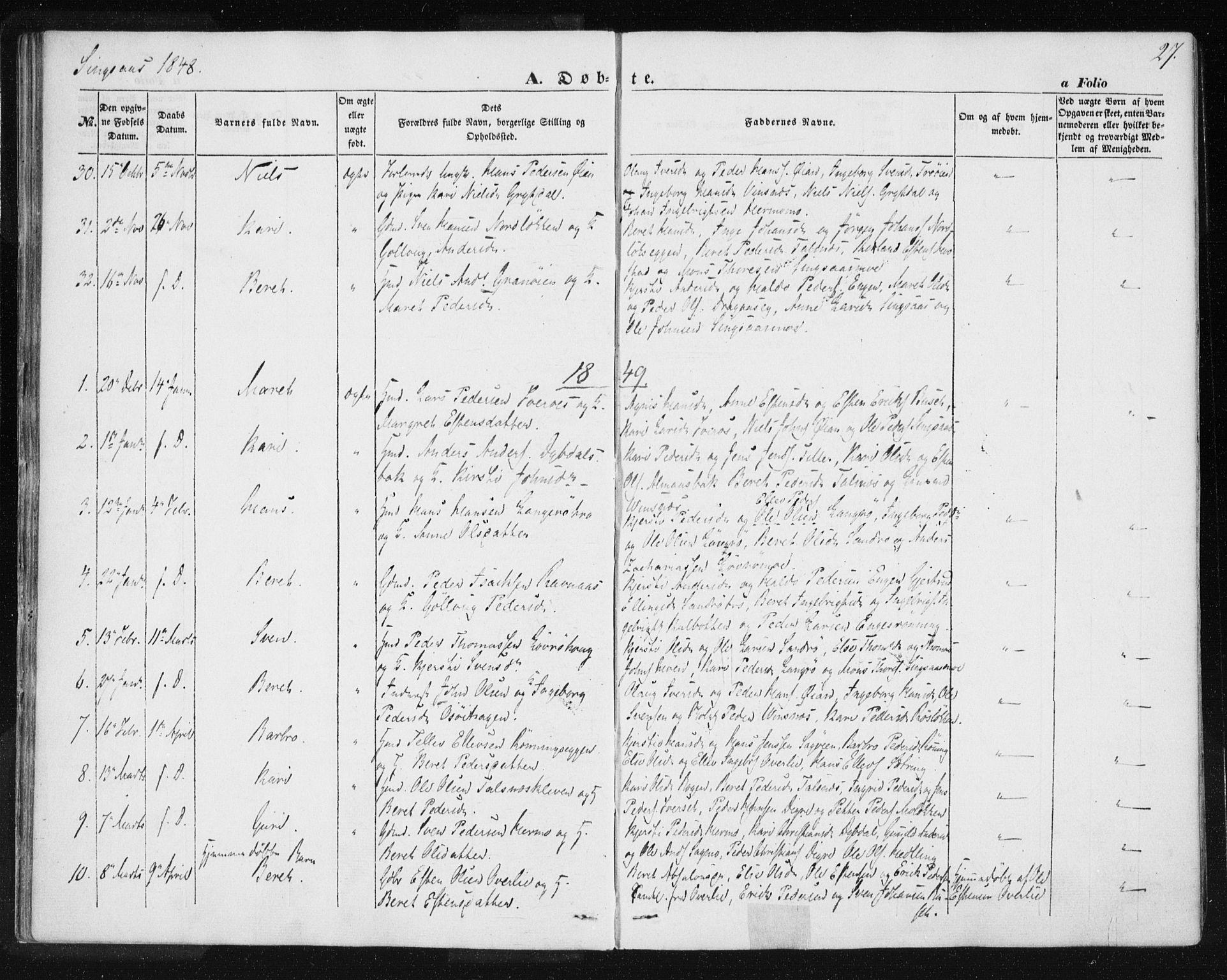 SAT, Ministerialprotokoller, klokkerbøker og fødselsregistre - Sør-Trøndelag, 685/L0964: Ministerialbok nr. 685A06 /2, 1846-1859, s. 27