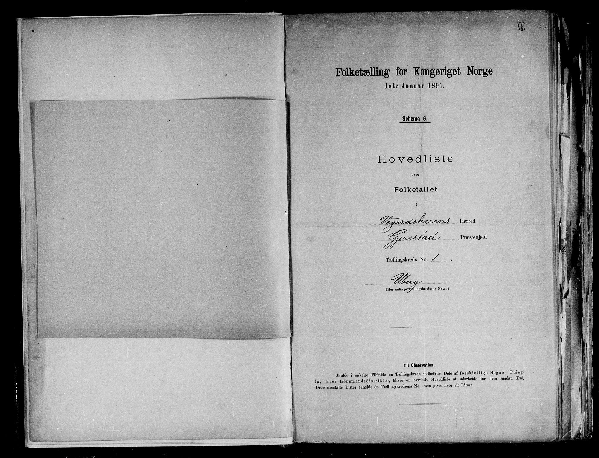 RA, Folketelling 1891 for 0912 Vegårshei herred, 1891, s. 5