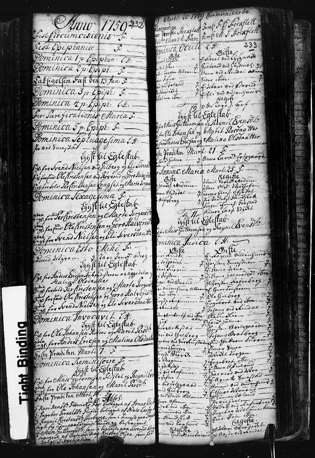 SAH, Fåberg prestekontor, Klokkerbok nr. 1, 1727-1767, s. 232-233