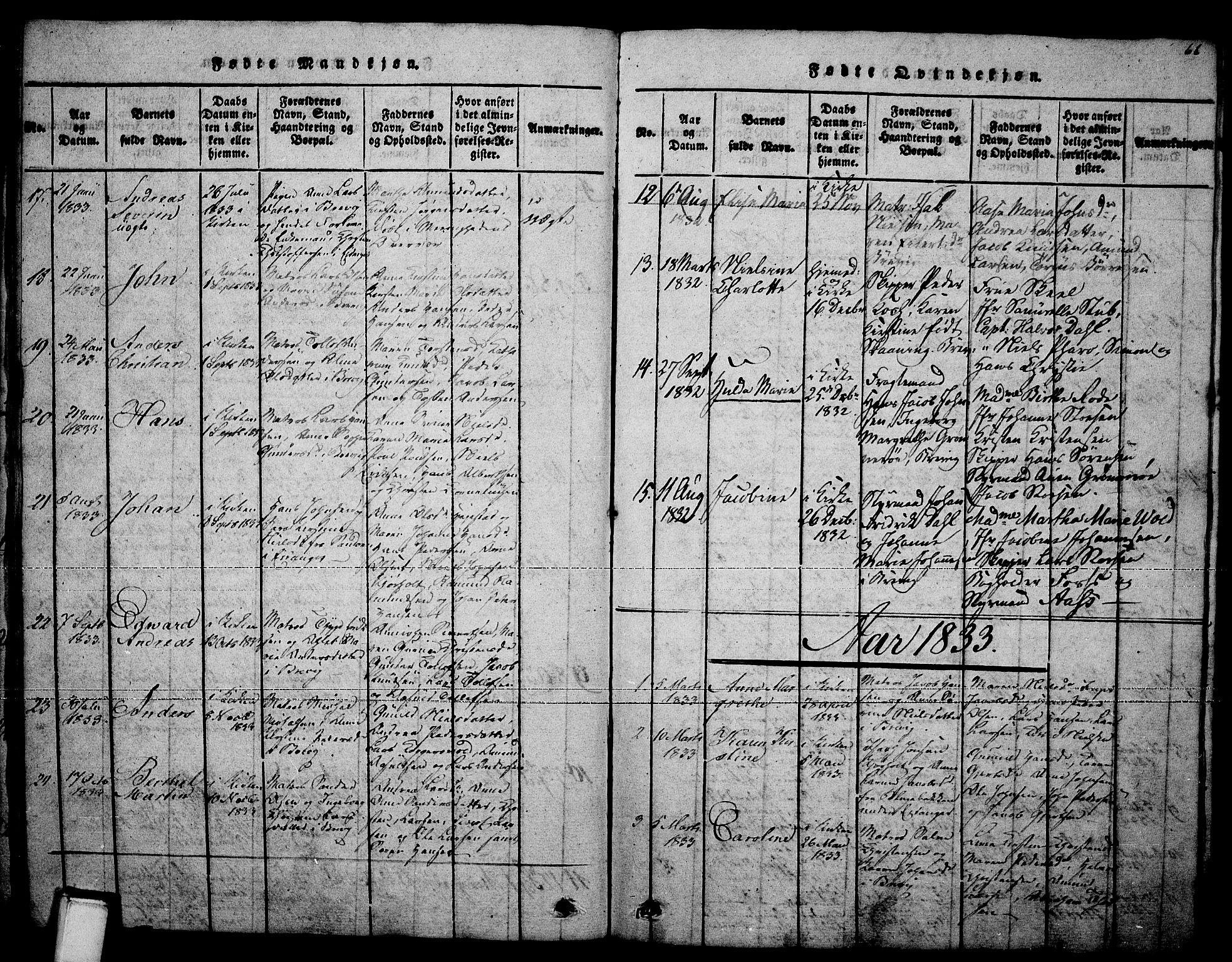 SAKO, Brevik kirkebøker, F/Fa/L0004: Ministerialbok nr. 4, 1814-1846, s. 66