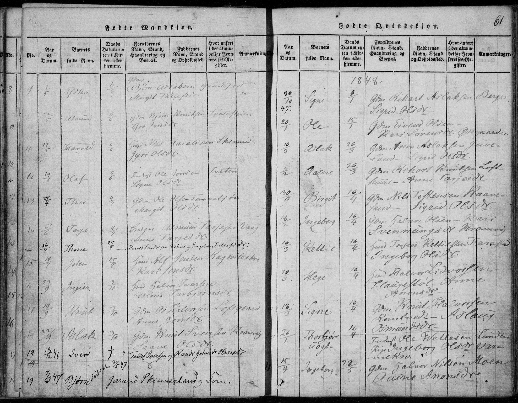 SAKO, Rauland kirkebøker, F/Fa/L0001: Ministerialbok nr. 1, 1814-1859, s. 61