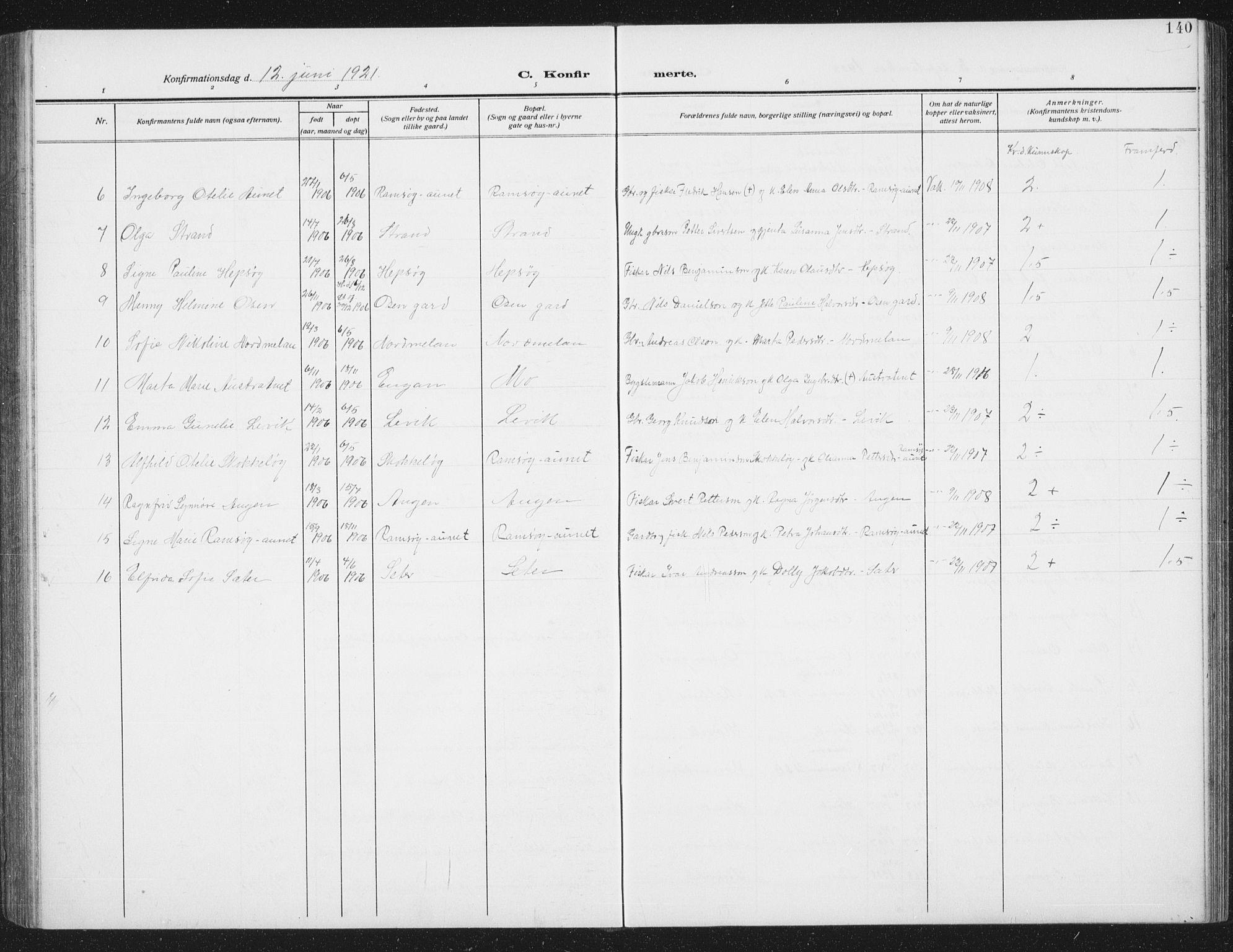 SAT, Ministerialprotokoller, klokkerbøker og fødselsregistre - Sør-Trøndelag, 658/L0727: Klokkerbok nr. 658C03, 1909-1935, s. 140