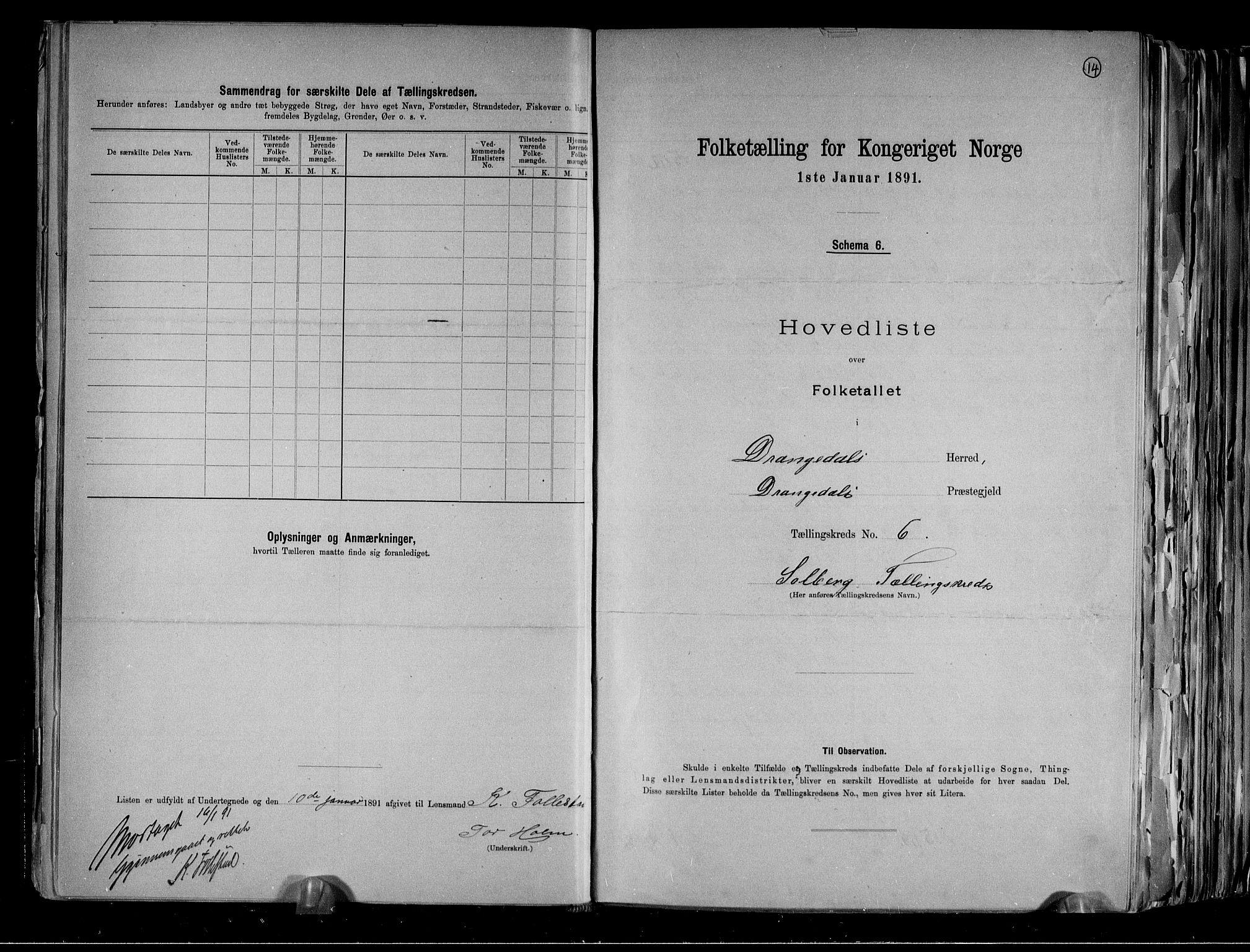 RA, Folketelling 1891 for 0817 Drangedal herred, 1891, s. 14
