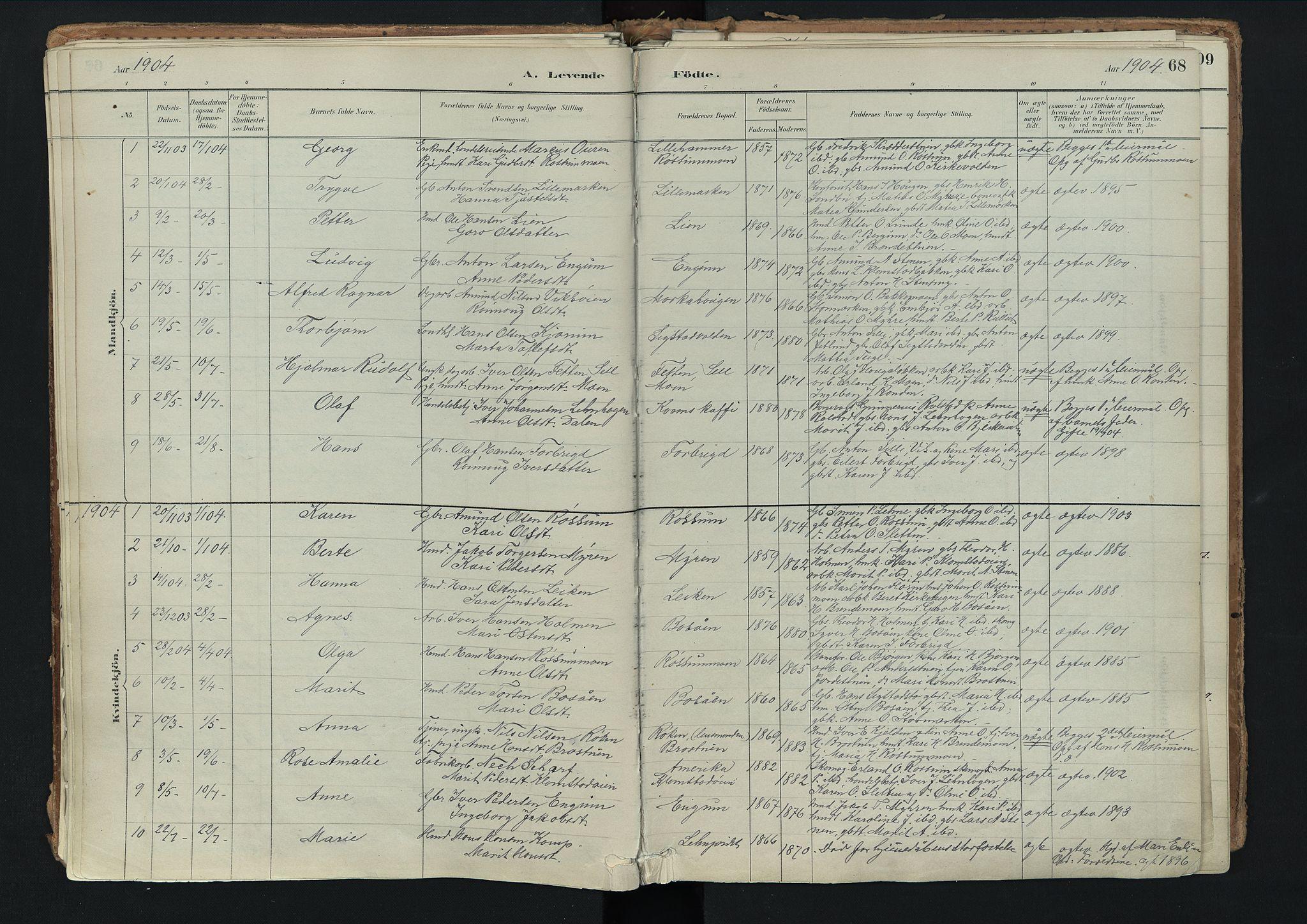 SAH, Nord-Fron prestekontor, Ministerialbok nr. 3, 1884-1914, s. 68