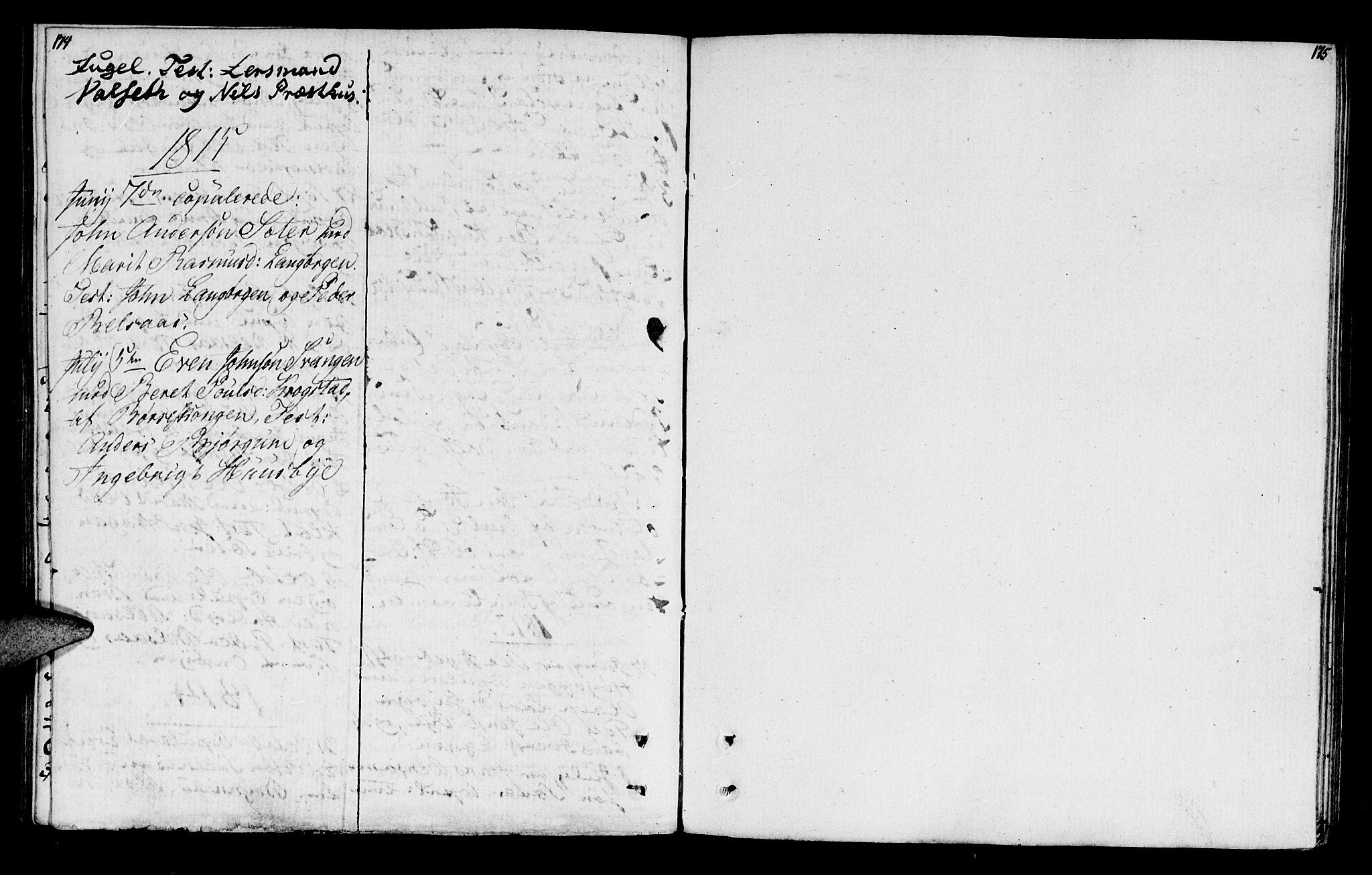 SAT, Ministerialprotokoller, klokkerbøker og fødselsregistre - Sør-Trøndelag, 666/L0785: Ministerialbok nr. 666A03, 1803-1816, s. 174-175
