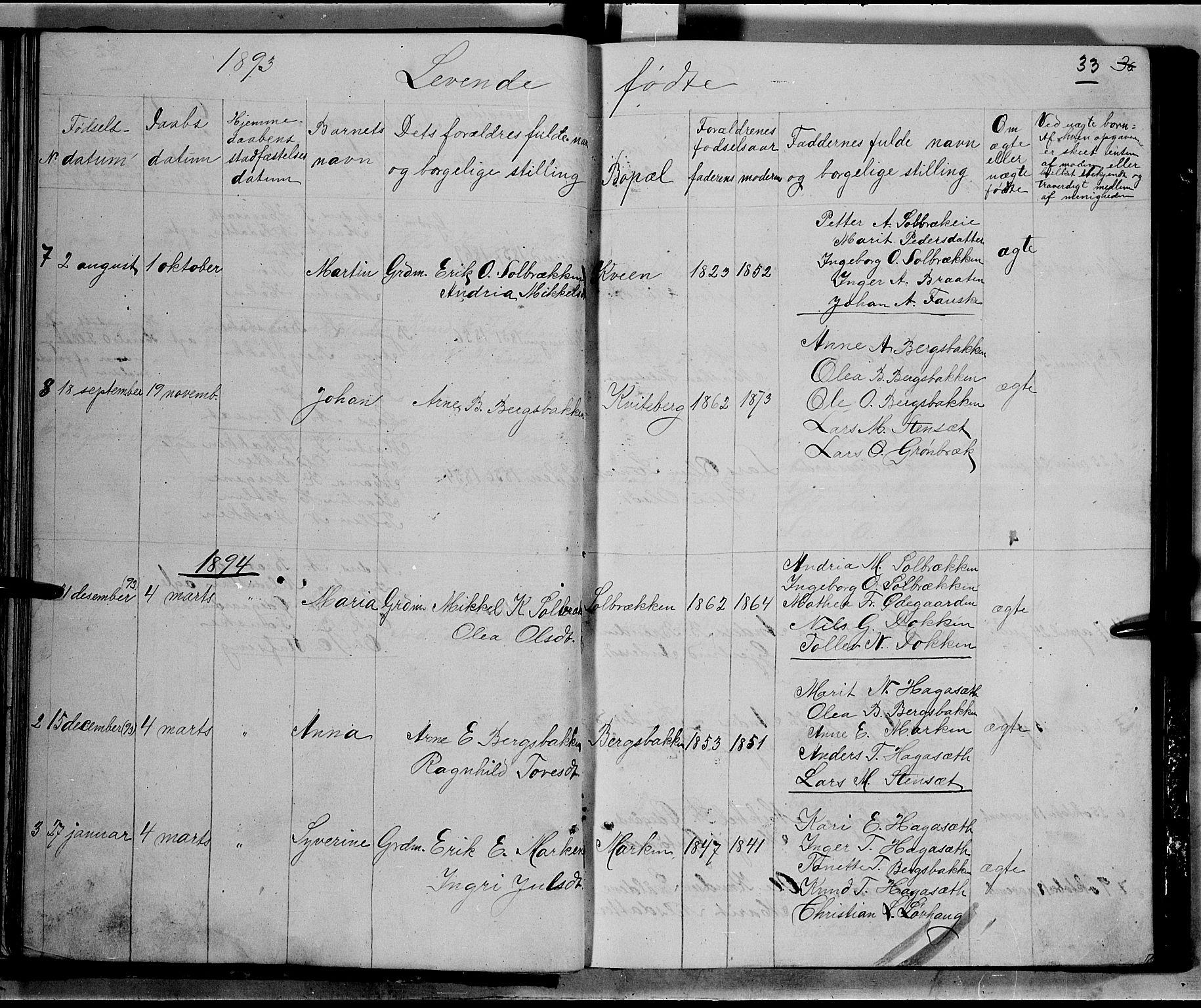 SAH, Nord-Aurdal prestekontor, Klokkerbok nr. 5, 1876-1895, s. 33