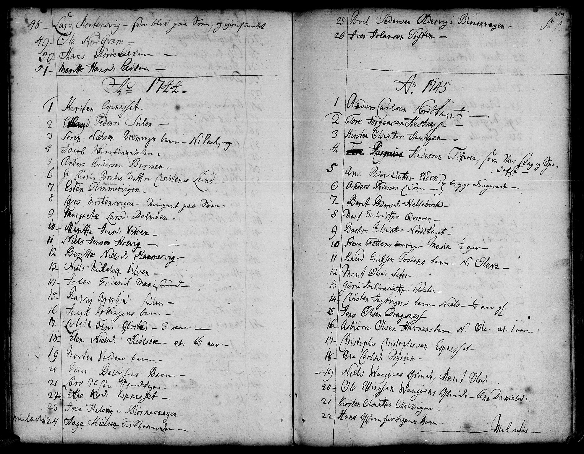 SAT, Ministerialprotokoller, klokkerbøker og fødselsregistre - Sør-Trøndelag, 634/L0525: Ministerialbok nr. 634A01, 1736-1775, s. 219