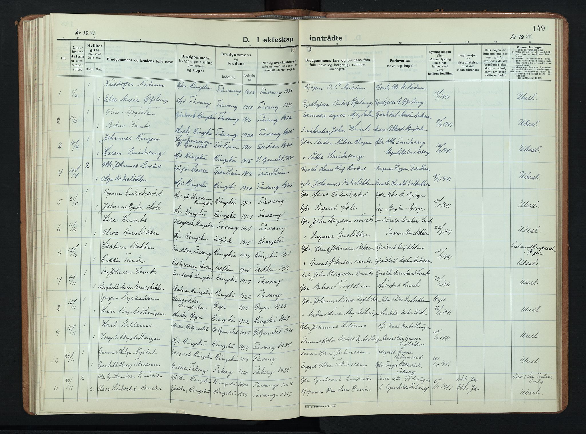 SAH, Ringebu prestekontor, Klokkerbok nr. 12, 1934-1949, s. 149