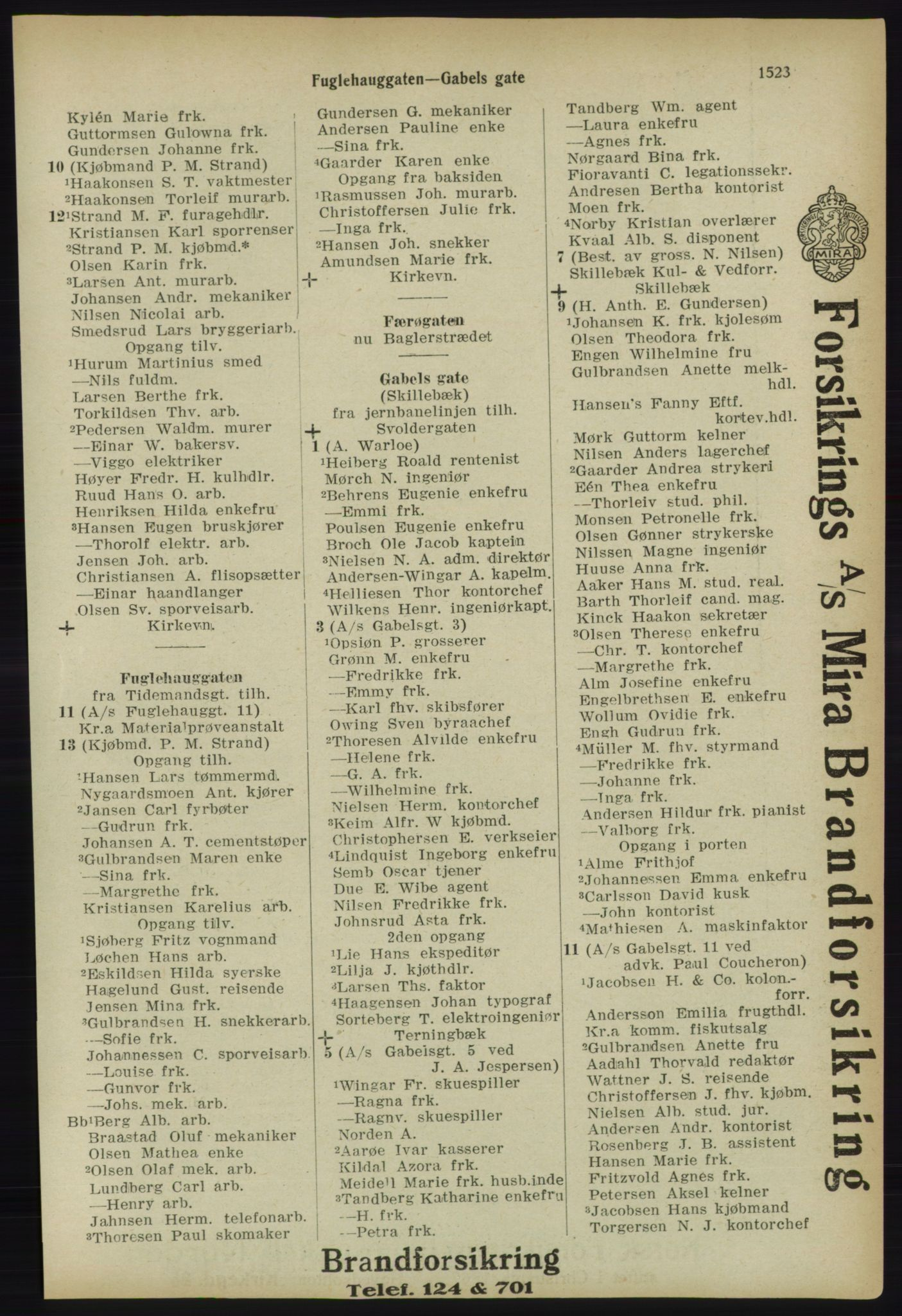 PUBL, Kristiania/Oslo adressebok, 1918, s. 1676