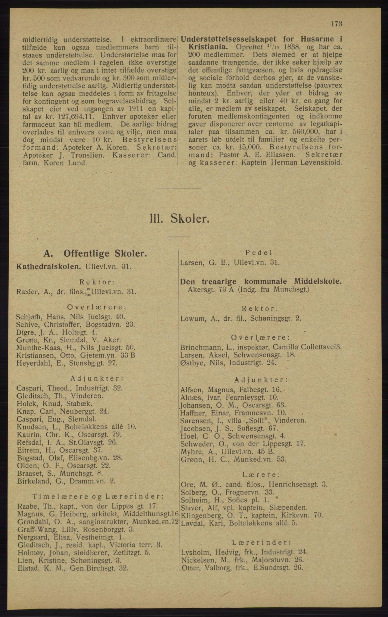 RA, Kristiania adressebok (publikasjon)*, 1913, s. 173