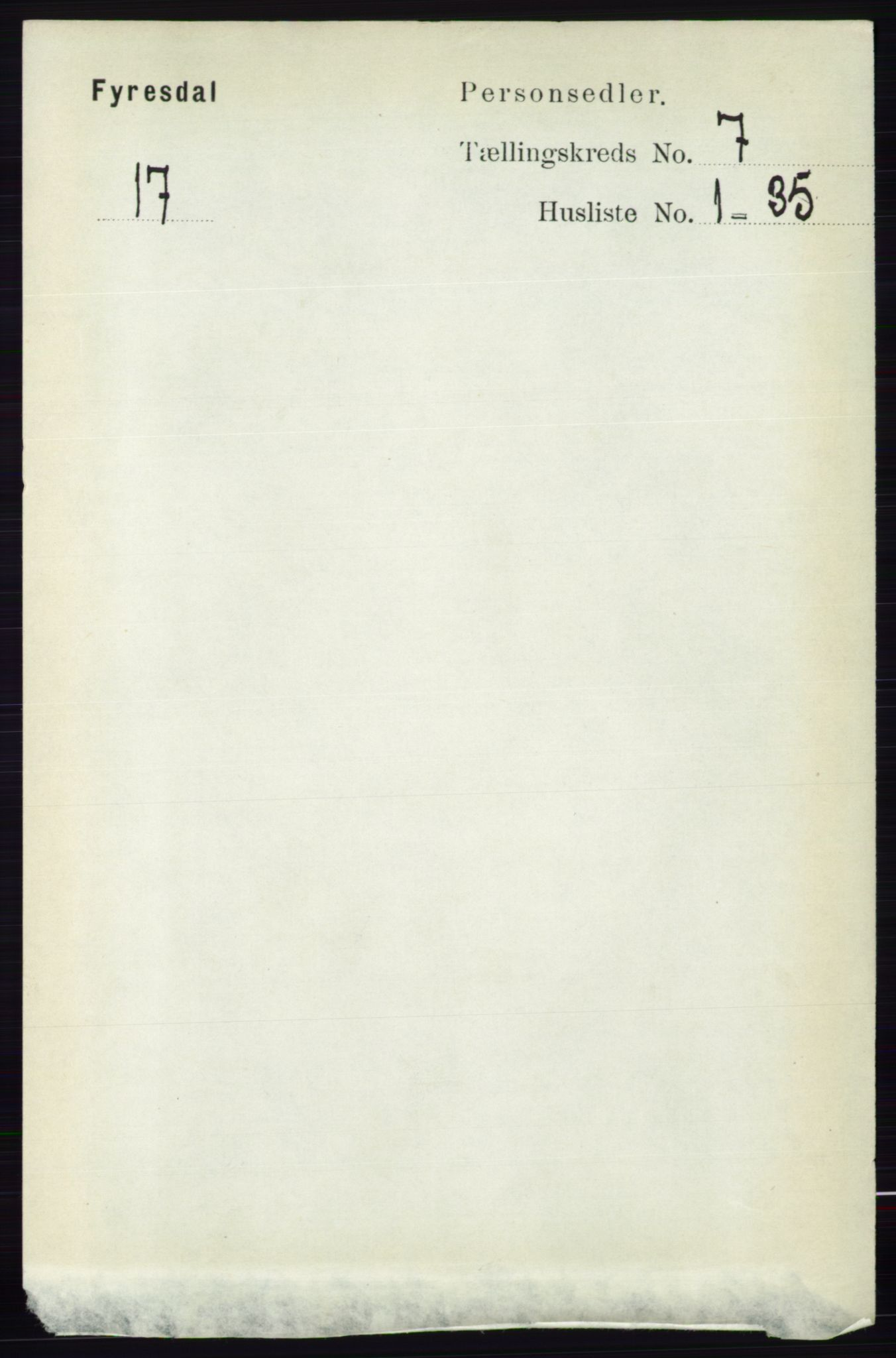 RA, Folketelling 1891 for 0831 Fyresdal herred, 1891, s. 1895