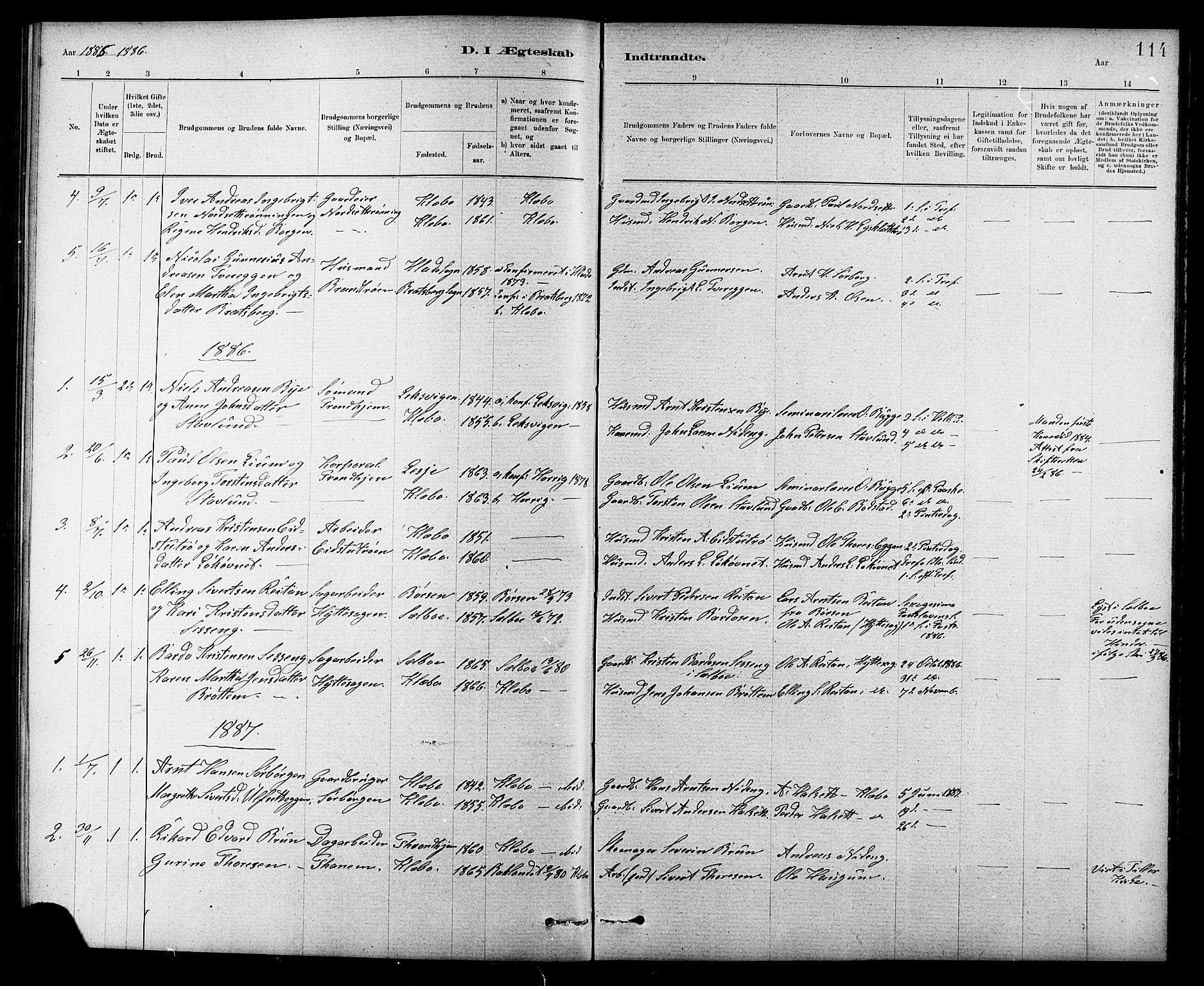 SAT, Ministerialprotokoller, klokkerbøker og fødselsregistre - Sør-Trøndelag, 618/L0452: Klokkerbok nr. 618C03, 1884-1906, s. 114
