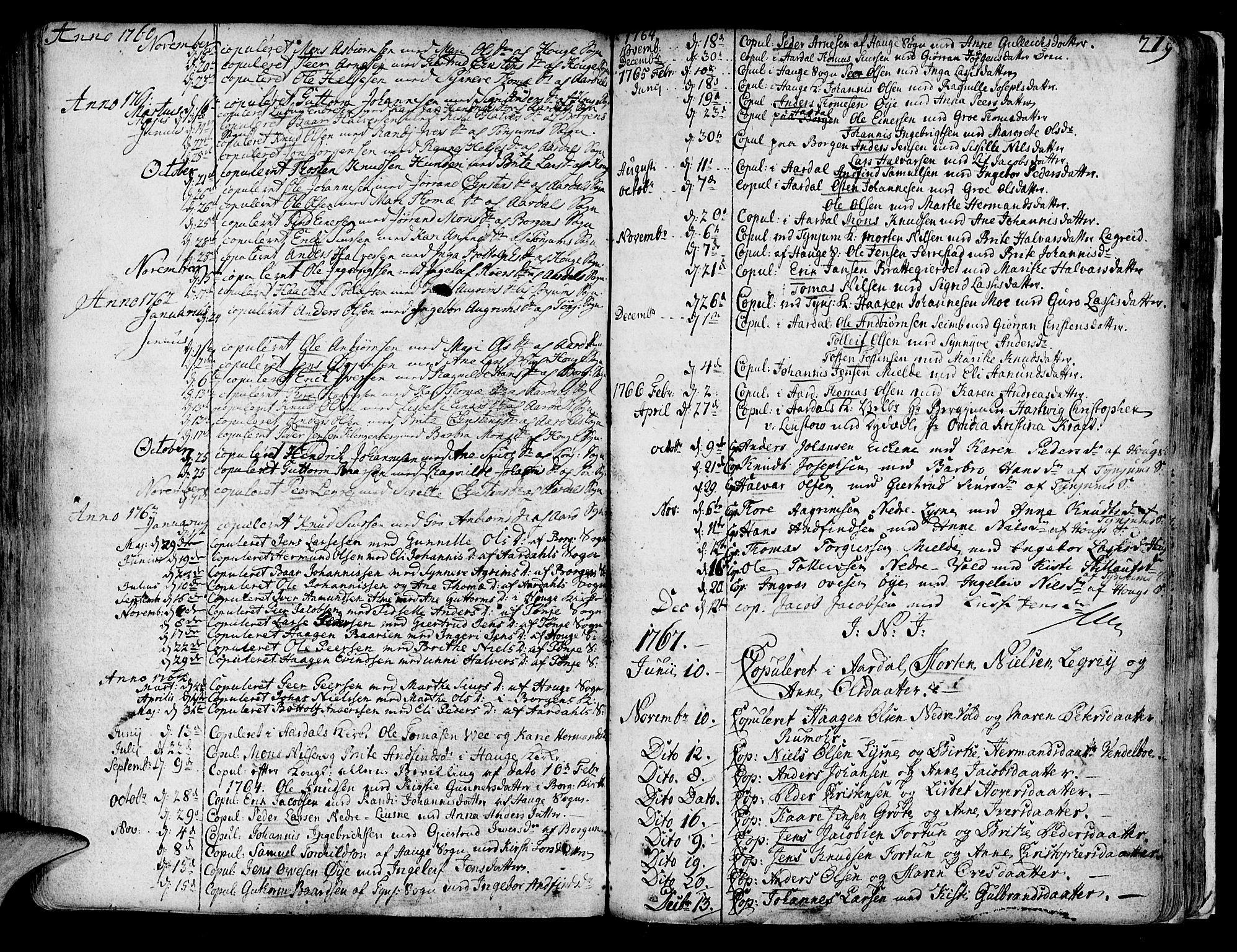 SAB, Lærdal sokneprestembete, Ministerialbok nr. A 2, 1752-1782, s. 219