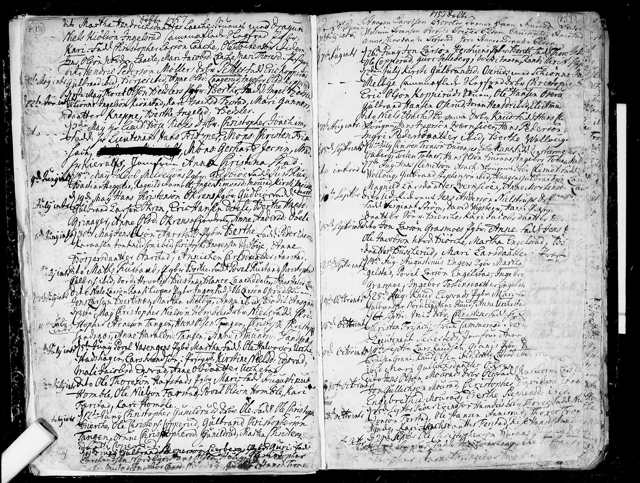 SAO, Nannestad prestekontor Kirkebøker, F/Fa/L0007: Ministerialbok nr. I 7, 1754-1791, s. 12-13