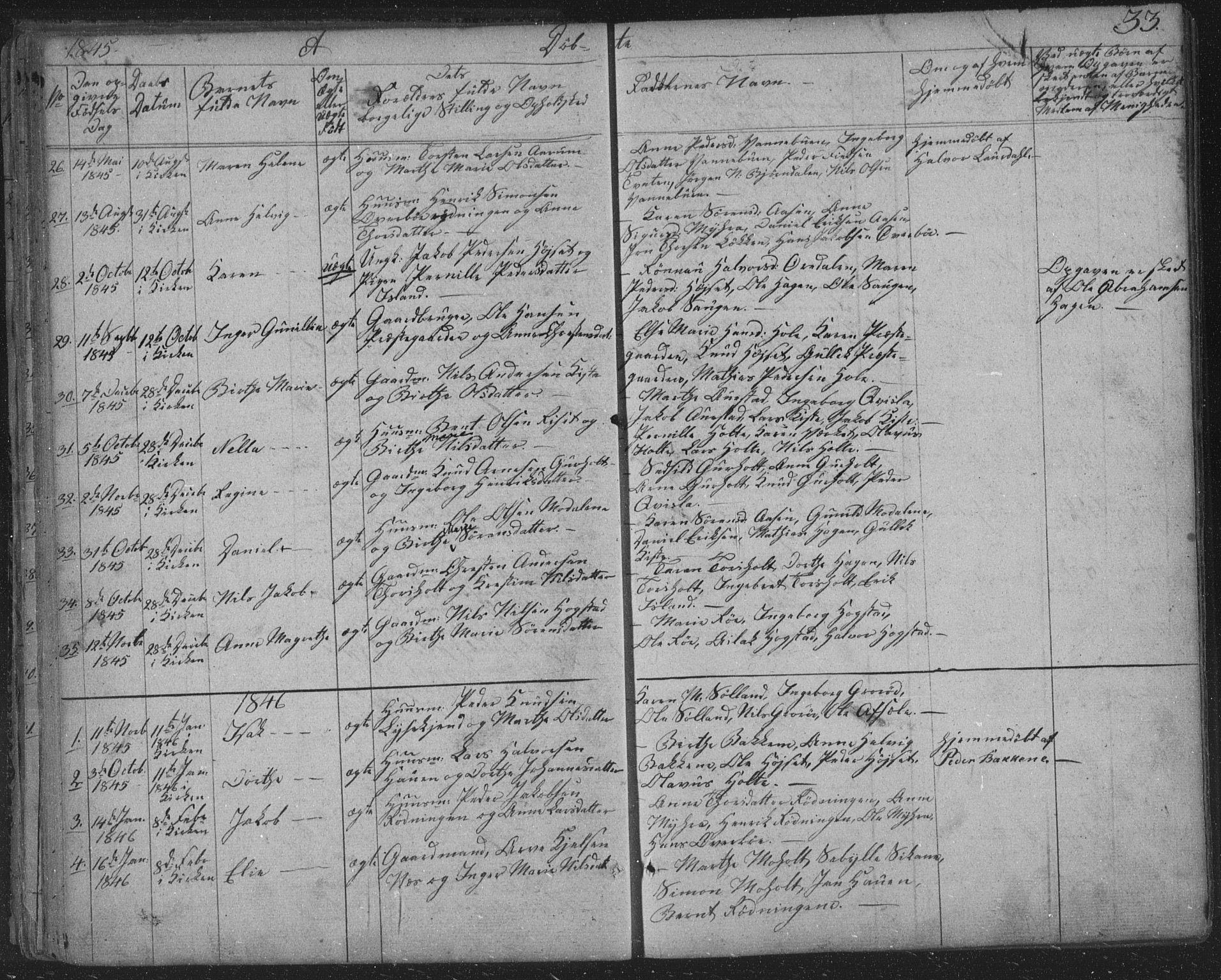 SAKO, Siljan kirkebøker, F/Fa/L0001: Ministerialbok nr. 1, 1831-1870, s. 33