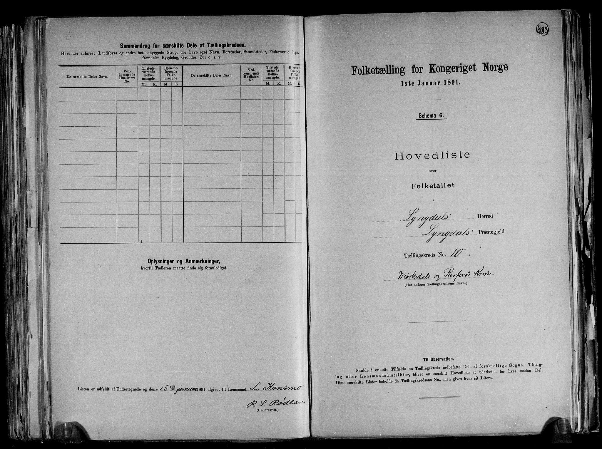 RA, Folketelling 1891 for 1032 Lyngdal herred, 1891, s. 25