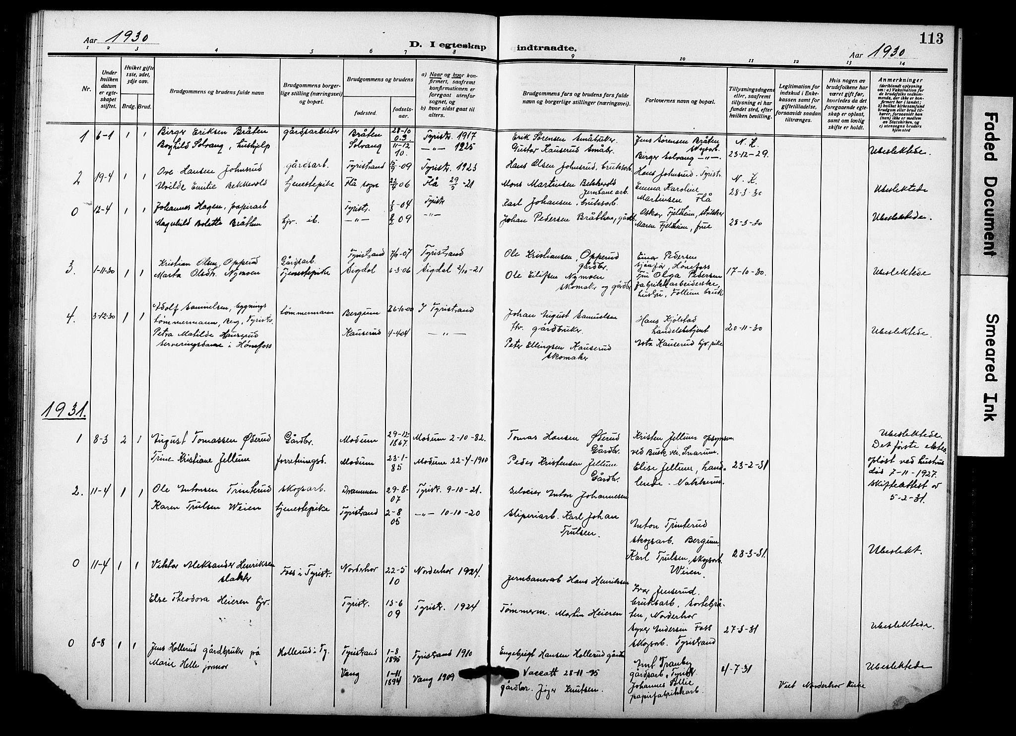 SAKO, Hole kirkebøker, G/Gb/L0005: Klokkerbok nr. II 5, 1915-1932, s. 113
